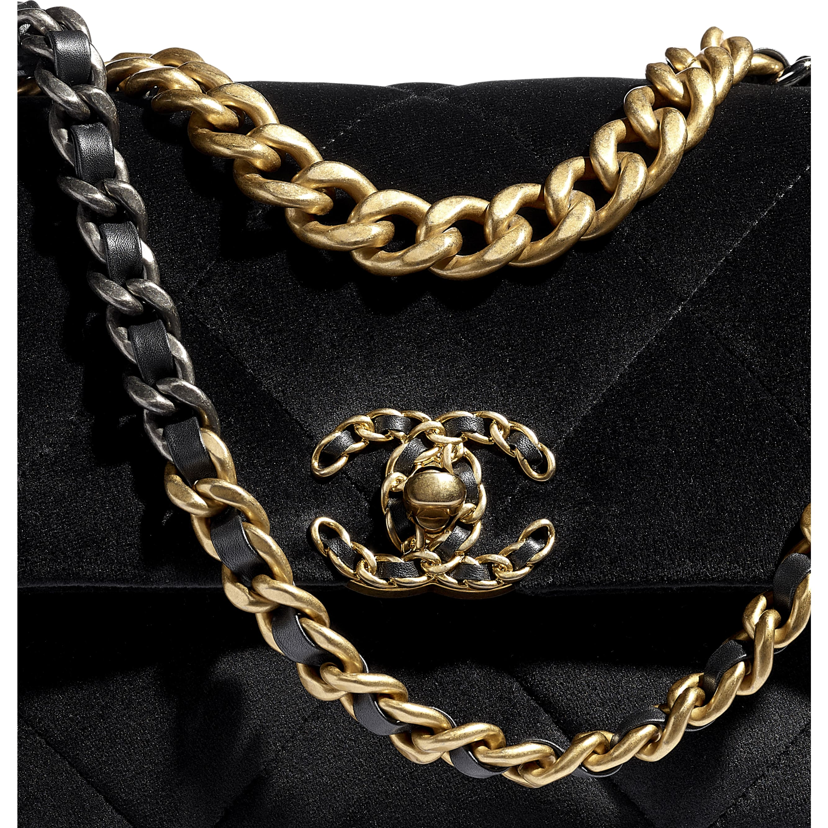 CHANEL 19 Flap Bag - Black - Velvet, Black & Gold-Tone Metal - CHANEL - Extra view - see standard sized version