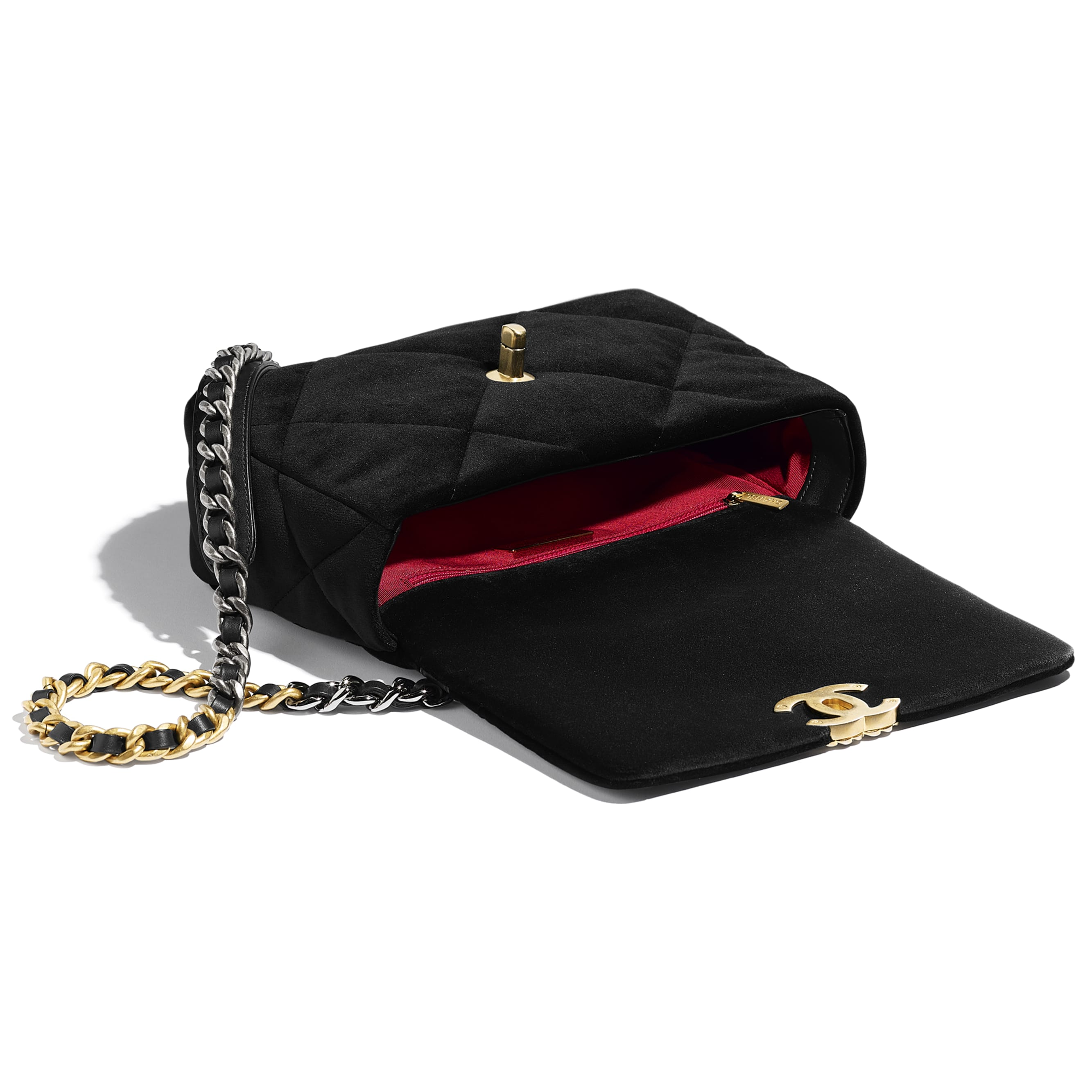 CHANEL 19 Flap Bag - Black - Velvet, Black & Gold-Tone Metal - CHANEL - Other view - see standard sized version