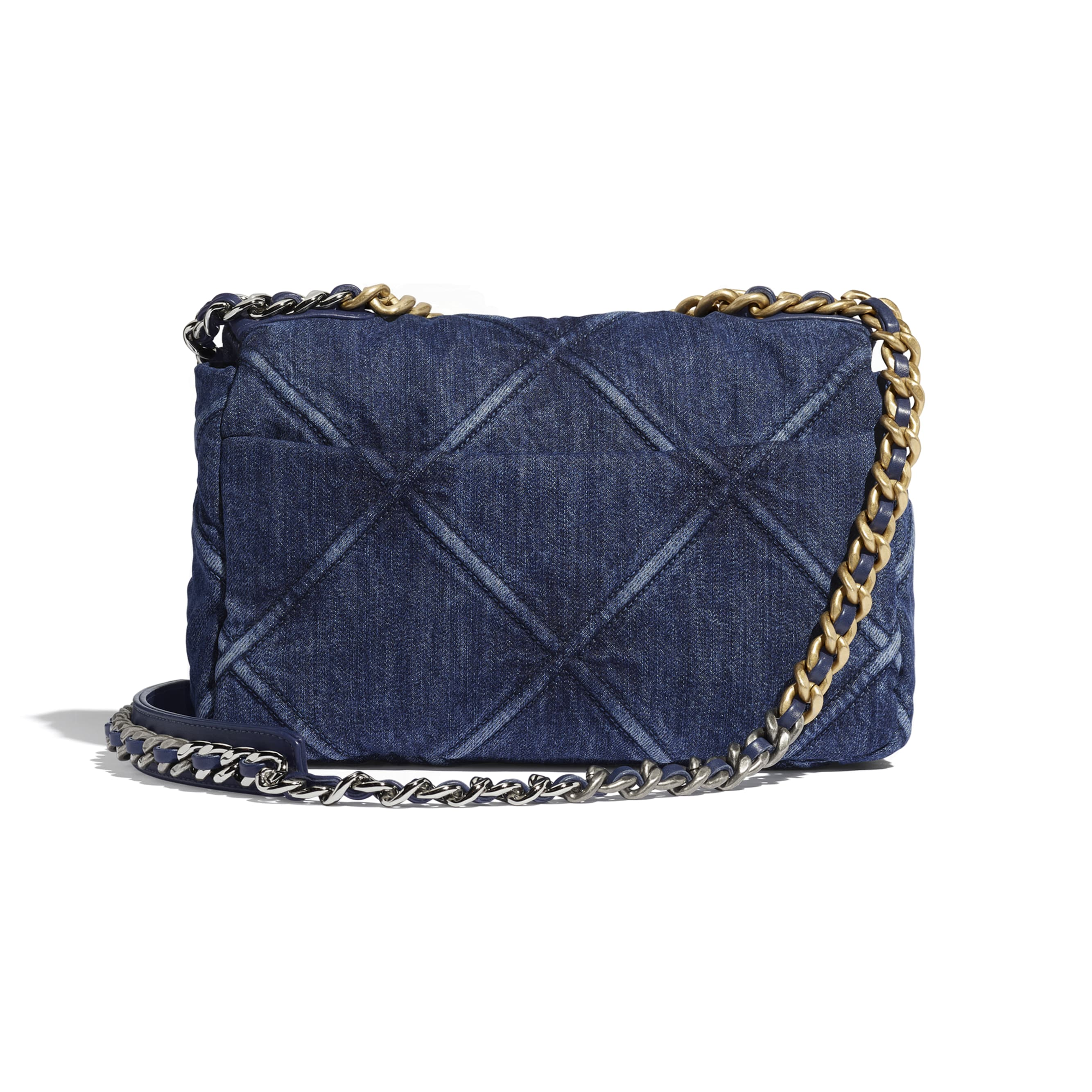 CHANEL 19 Flap Bag - Blue - Denim, Gold-Tone, Silver-Tone & Ruthenium-Finish Metal - Alternative view - see standard sized version