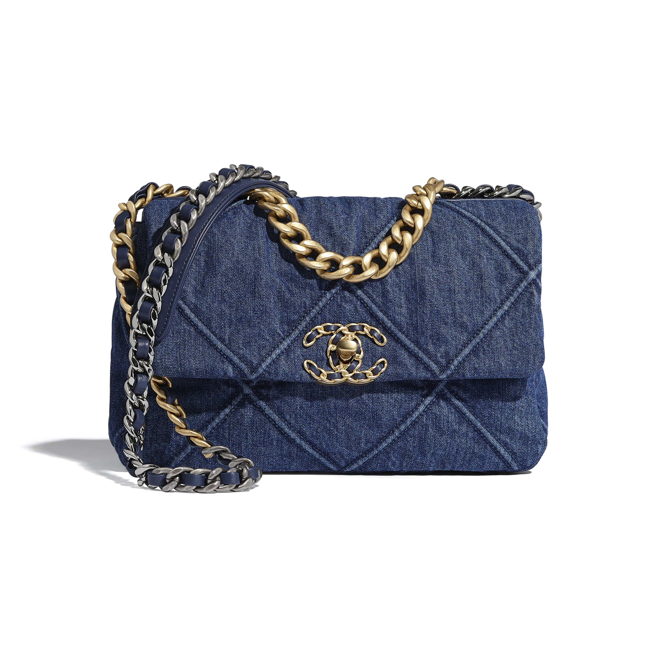 CHANEL 19 Flap Bag - Blue - Denim, Gold-Tone, Silver-Tone & Ruthenium-Finish Metal - CHANEL - Default view - see standard sized version