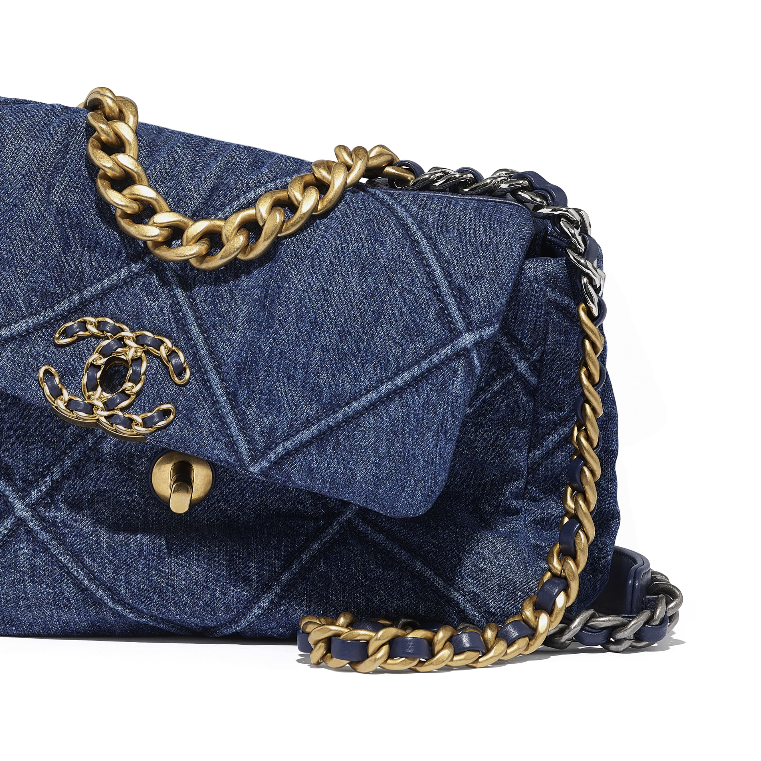 CHANEL 19 Flap Bag - Blue - Denim, Gold-Tone, Silver-Tone & Ruthenium-Finish Metal - Extra view - see standard sized version