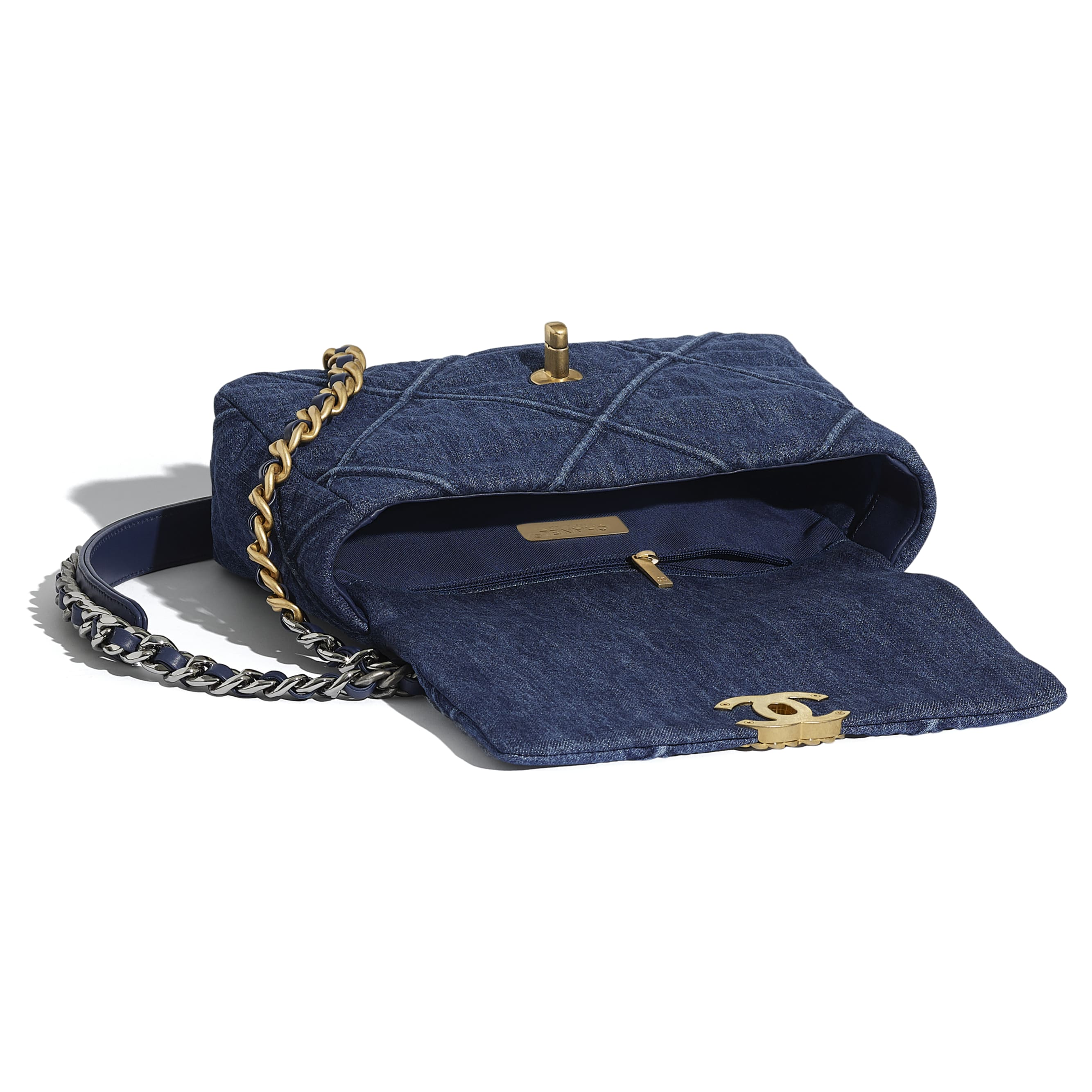 CHANEL 19 Flap Bag - Blue - Denim, Gold-Tone, Silver-Tone & Ruthenium-Finish Metal - CHANEL - Other view - see standard sized version