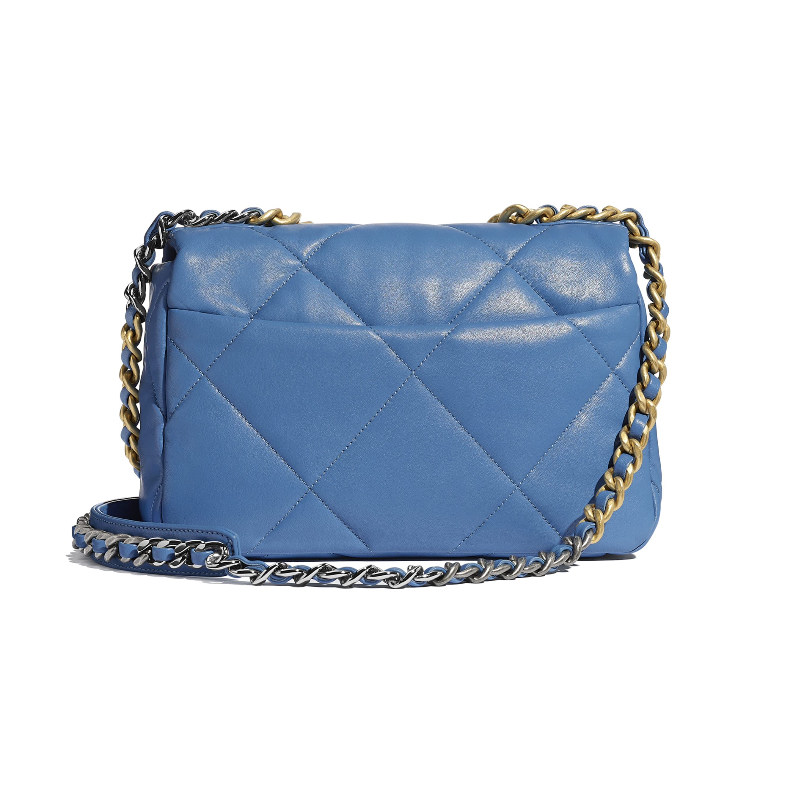 CHANEL 19 Flap Bag - Blue - Lambskin, Gold-Tone, Silver-Tone & Ruthenium-Finish Metal - CHANEL - Alternative view - see standard sized version