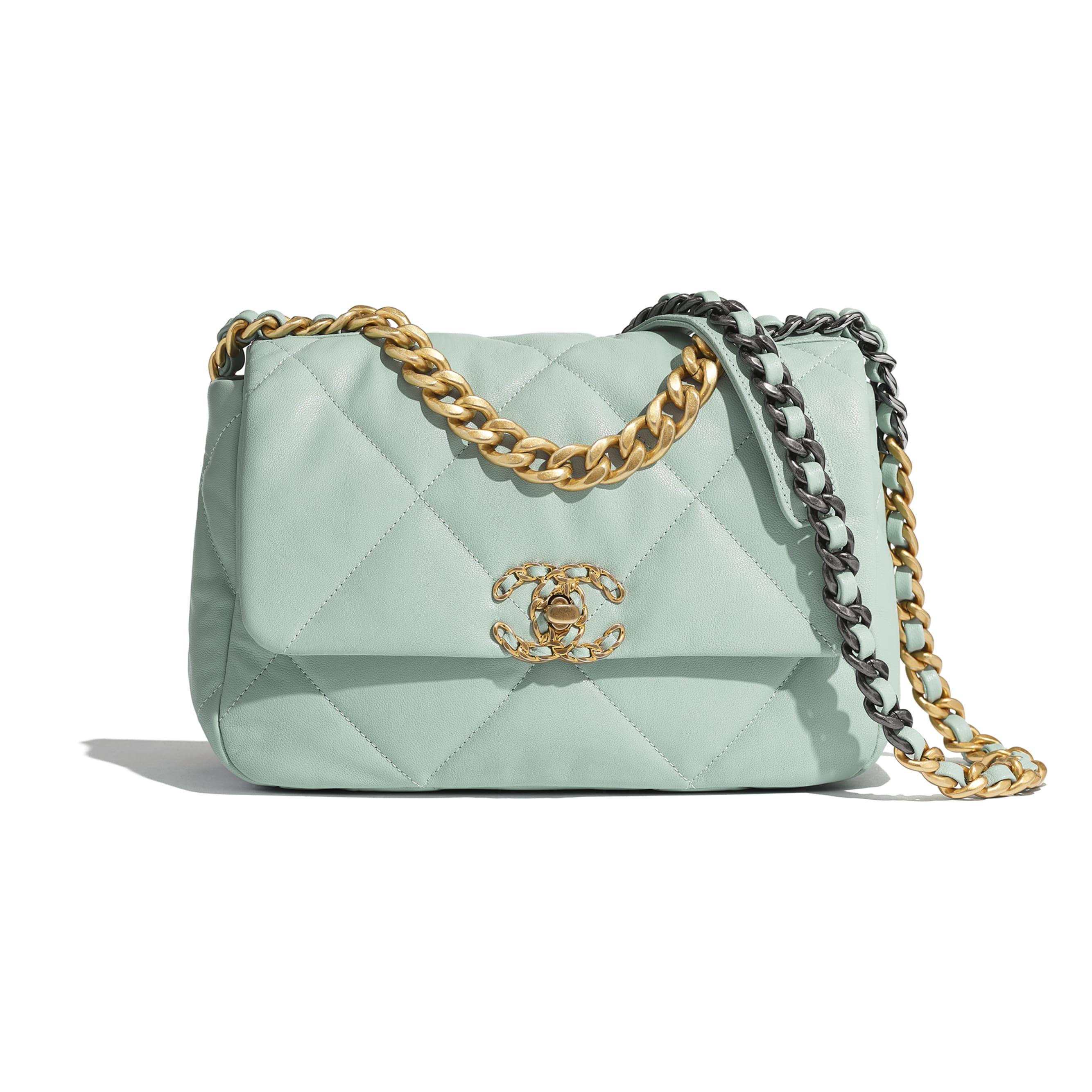 CHANEL 19 Flap Bag - Blue - Lambskin, Gold-Tone, Silver-Tone & Ruthenium-Finish Metal - Default view - see standard sized version