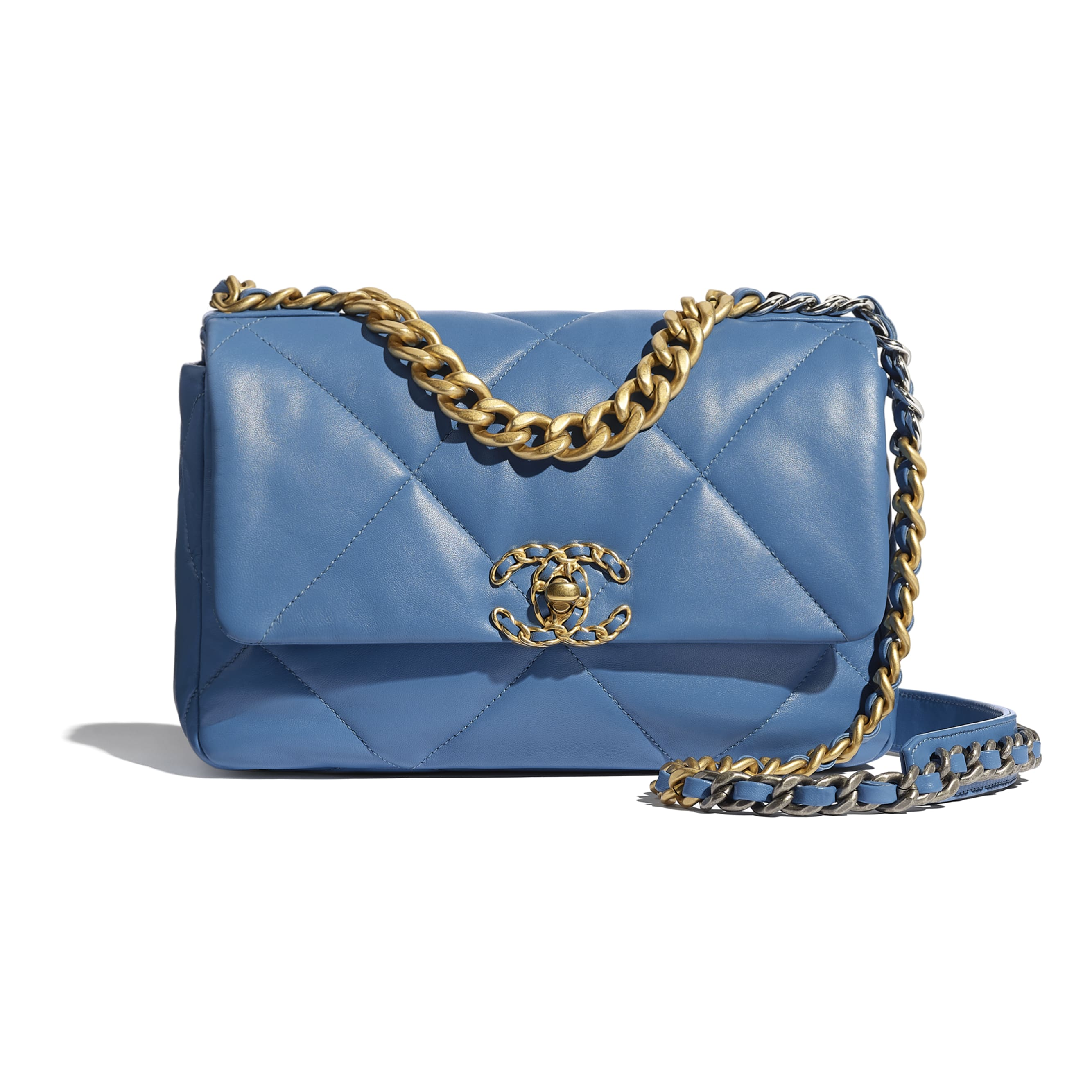 CHANEL 19 Flap Bag - Blue - Lambskin, Gold-Tone, Silver-Tone & Ruthenium-Finish Metal - CHANEL - Default view - see standard sized version