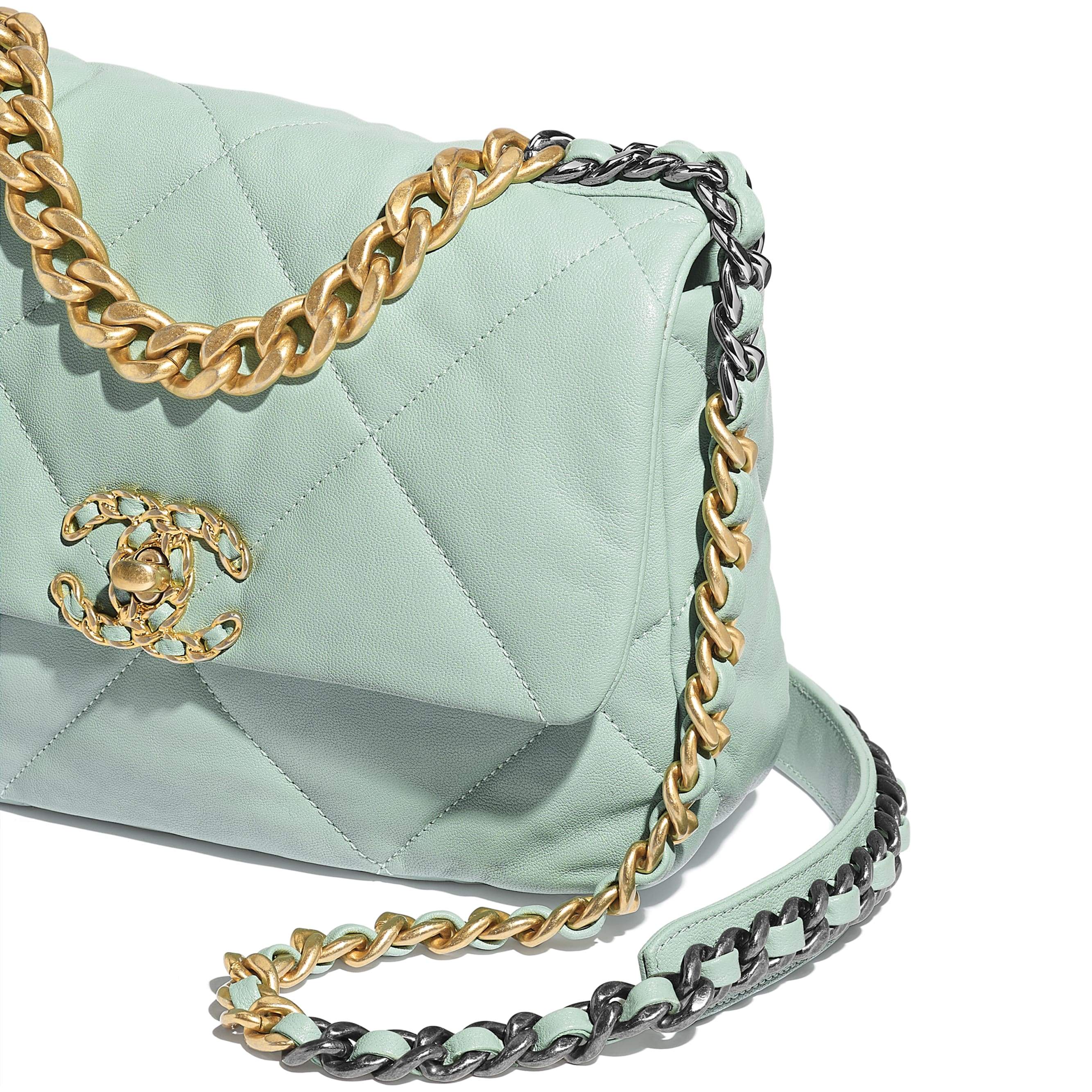 CHANEL 19 Flap Bag - Blue - Lambskin, Gold-Tone, Silver-Tone & Ruthenium-Finish Metal - Extra view - see standard sized version