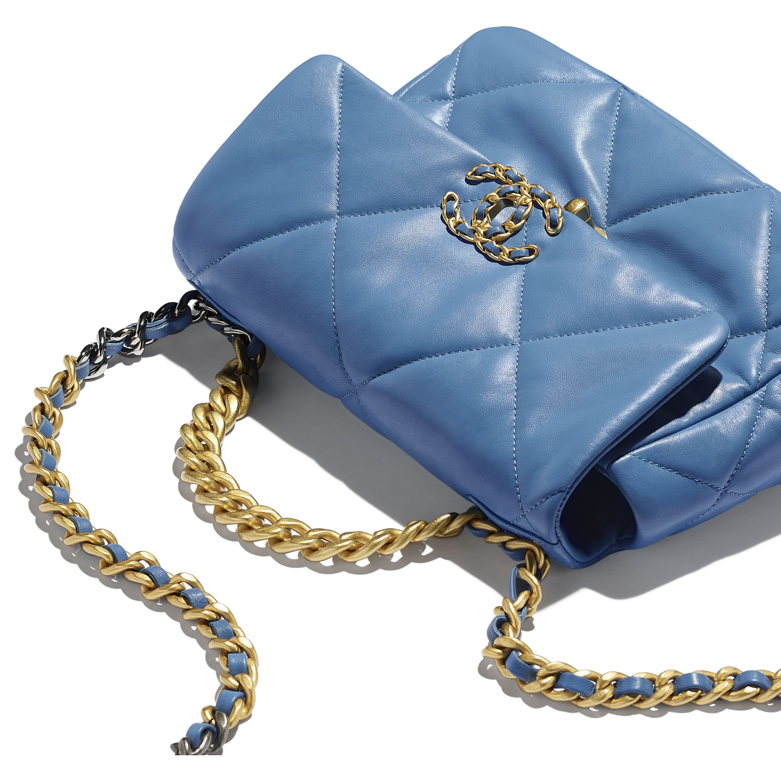 CHANEL 19 Flap Bag - Blue - Lambskin, Gold-Tone, Silver-Tone & Ruthenium-Finish Metal - CHANEL - Extra view - see standard sized version