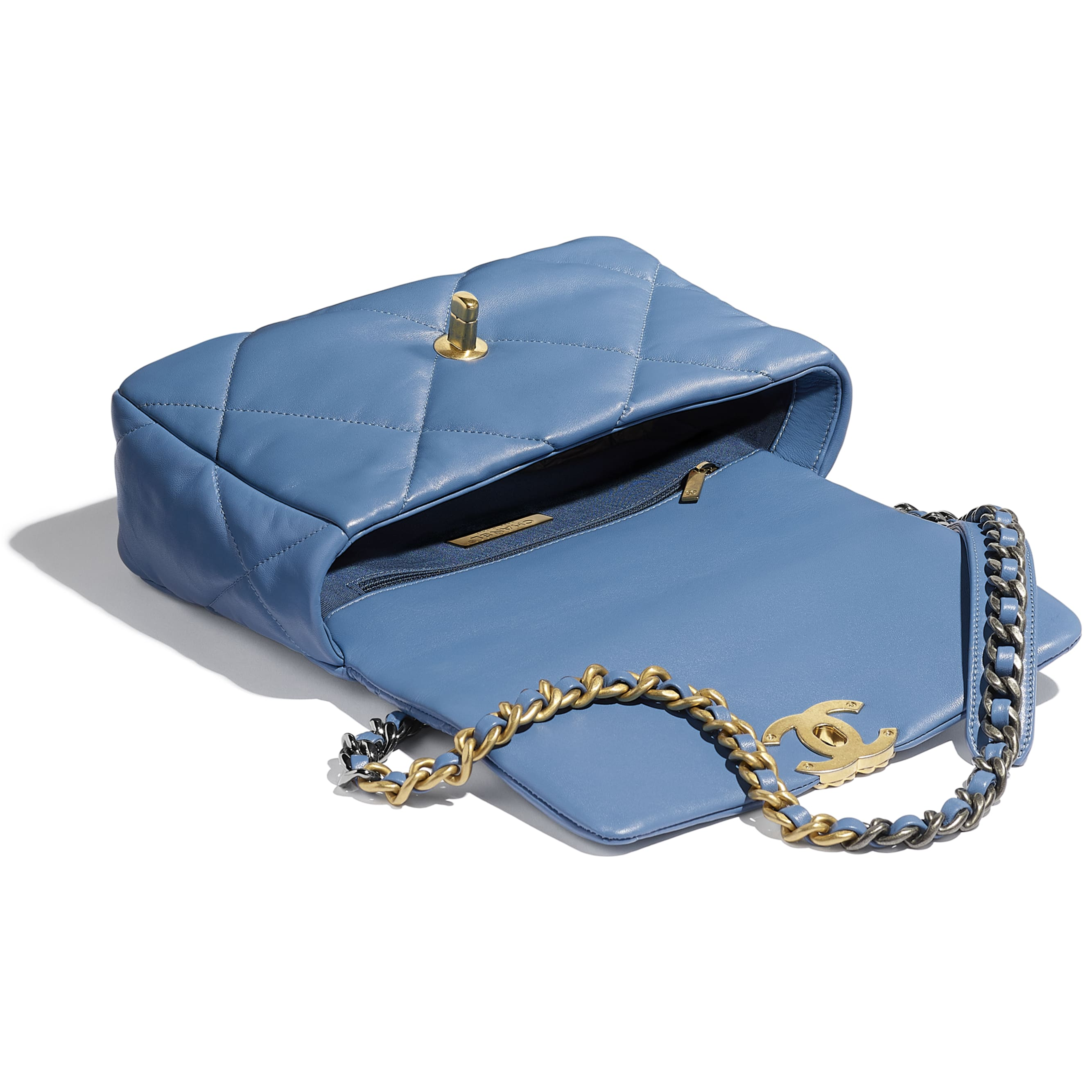 CHANEL 19 Flap Bag - Blue - Lambskin, Gold-Tone, Silver-Tone & Ruthenium-Finish Metal - CHANEL - Other view - see standard sized version