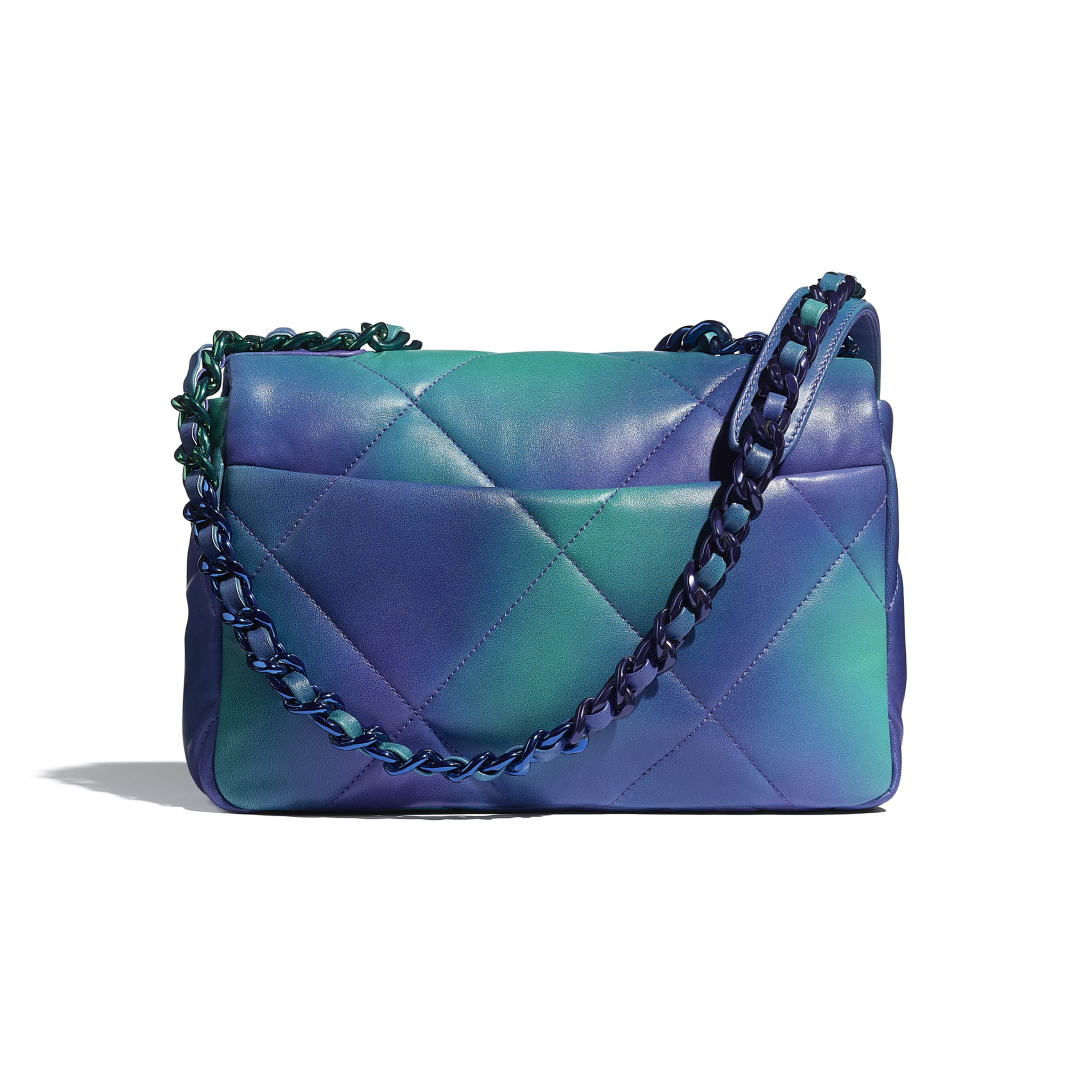 CHANEL 19 Flap Bag - Blue & Purple - Tie and Dye Calfskin & Lacquered Metal - CHANEL - Alternative view - see standard sized version