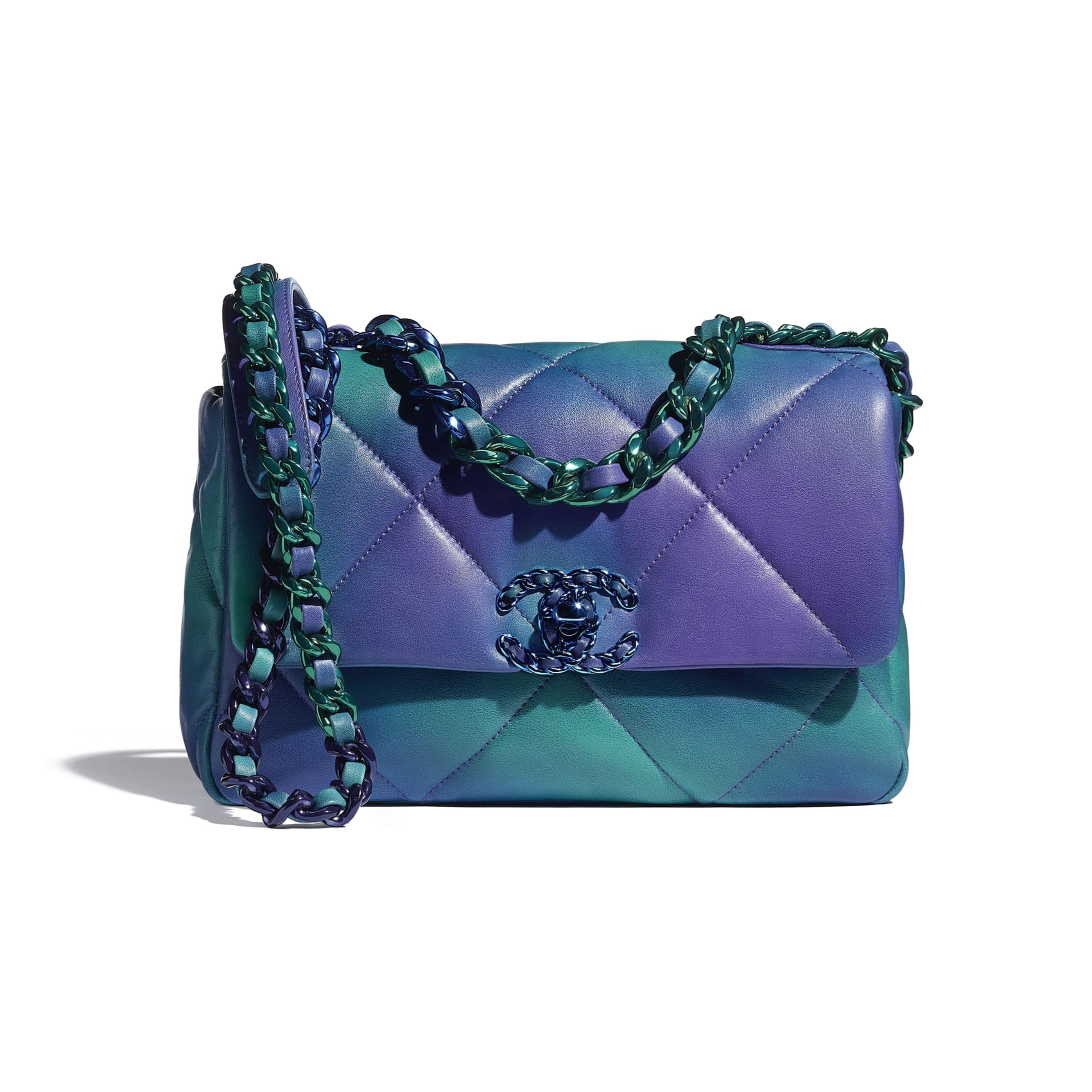 Sac à rabat CHANEL 19 - Bleu et violet - Veau tie and dye & métal laqué - CHANEL - Vue par défaut - voir la version taille standard
