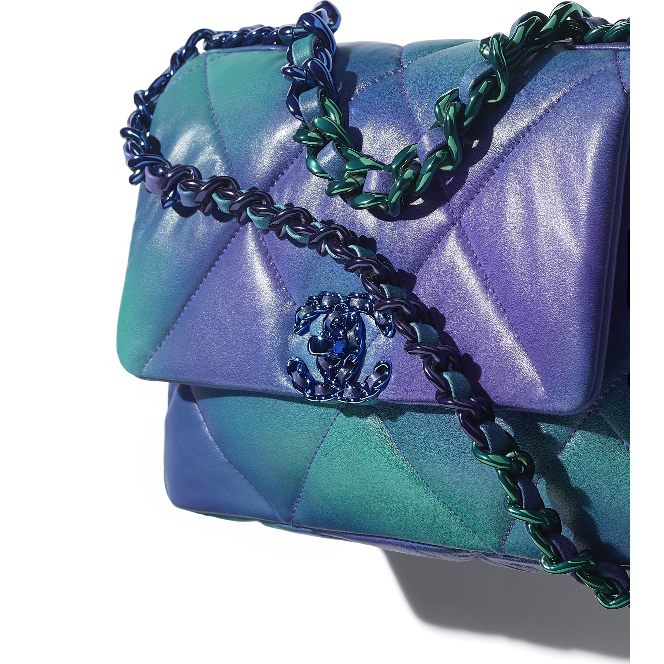 CHANEL 19 Flap Bag - Blue & Purple - Tie and Dye Calfskin & Lacquered Metal - CHANEL - Extra view - see standard sized version