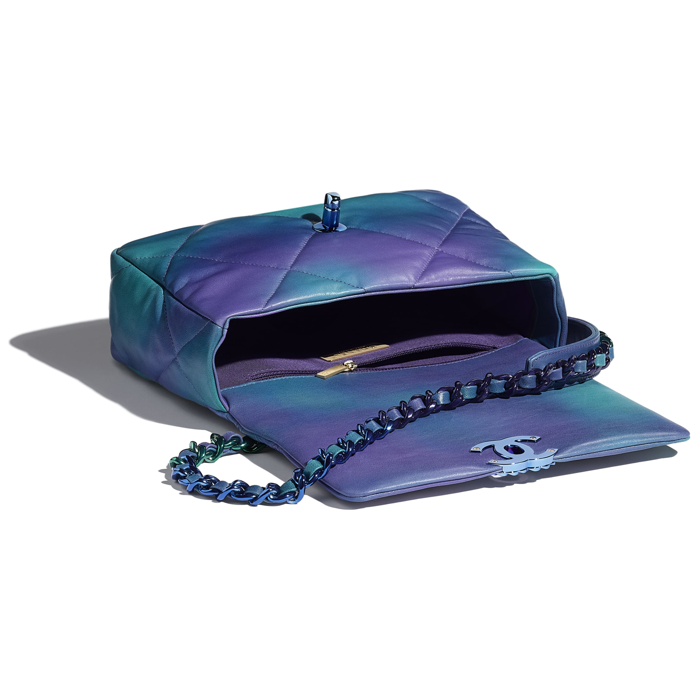 CHANEL 19 Flap Bag - Blue & Purple - Tie and Dye Calfskin & Lacquered Metal - CHANEL - Other view - see standard sized version