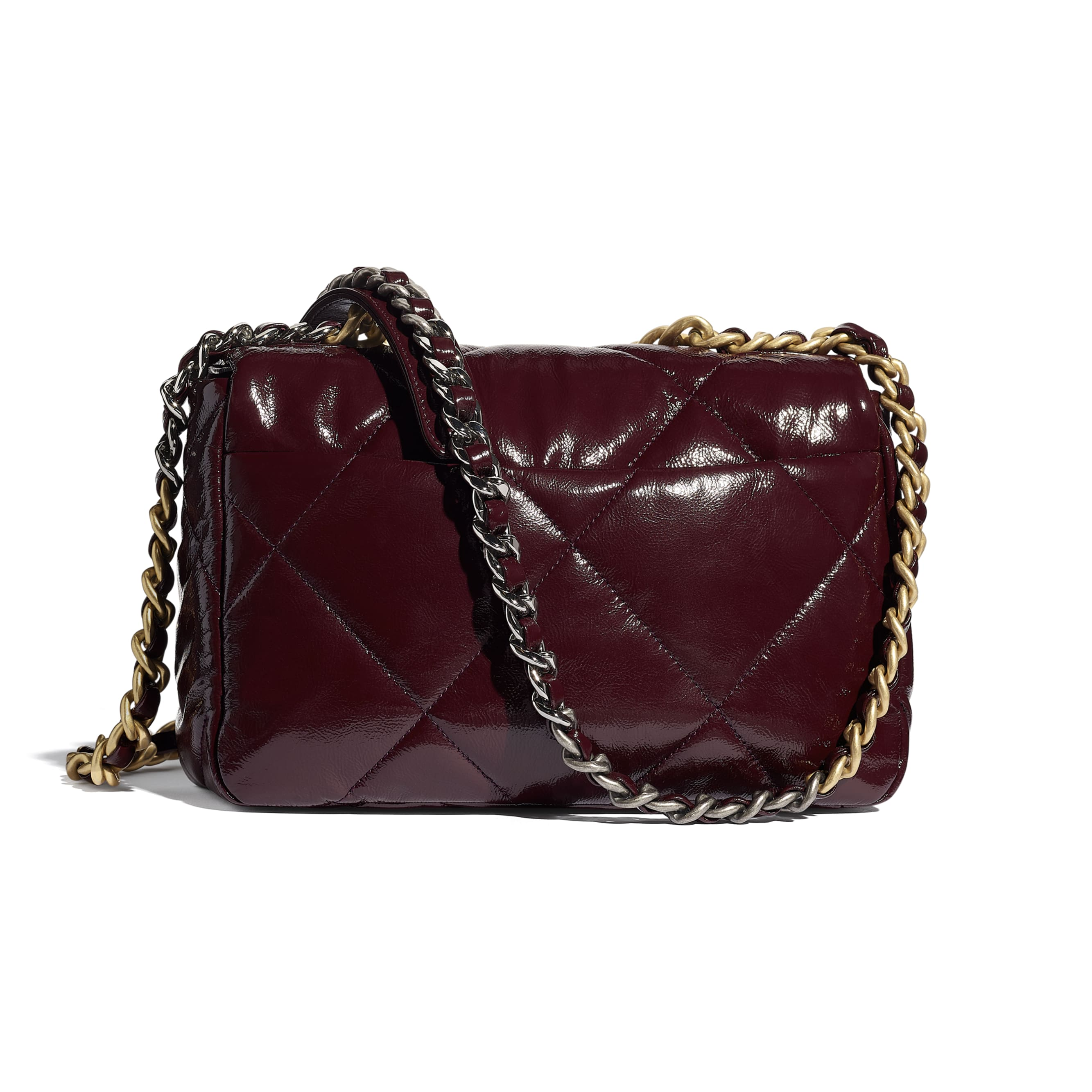 CHANEL 19 Flap Bag - Burgundy - Shiny Crumpled Calfskin, Gold-Tone, Silver-Tone & Ruthenium-Finish Metal - CHANEL - Alternative view - see standard sized version