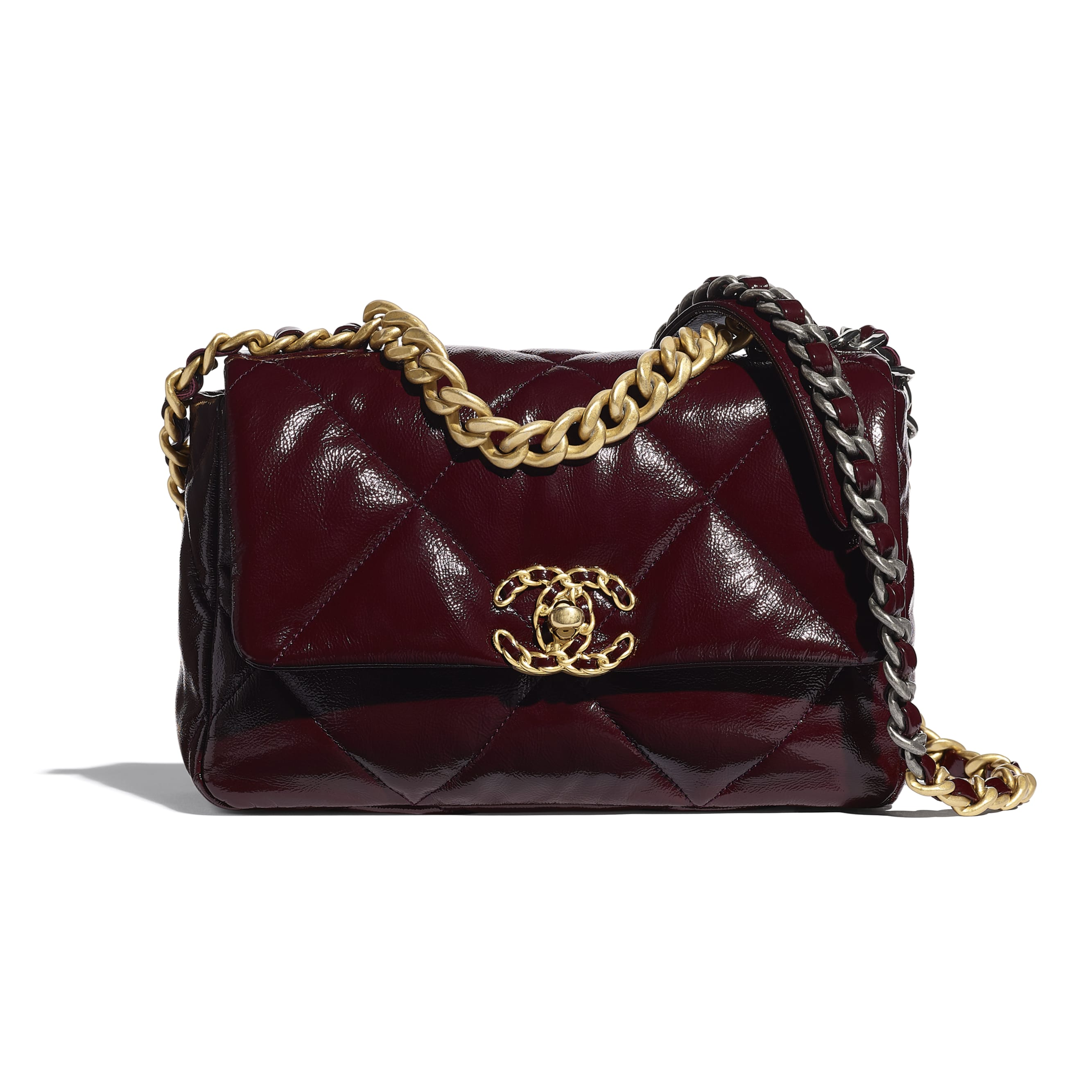 CHANEL 19 Flap Bag - Burgundy - Shiny Crumpled Calfskin, Gold-Tone, Silver-Tone & Ruthenium-Finish Metal - CHANEL - Default view - see standard sized version