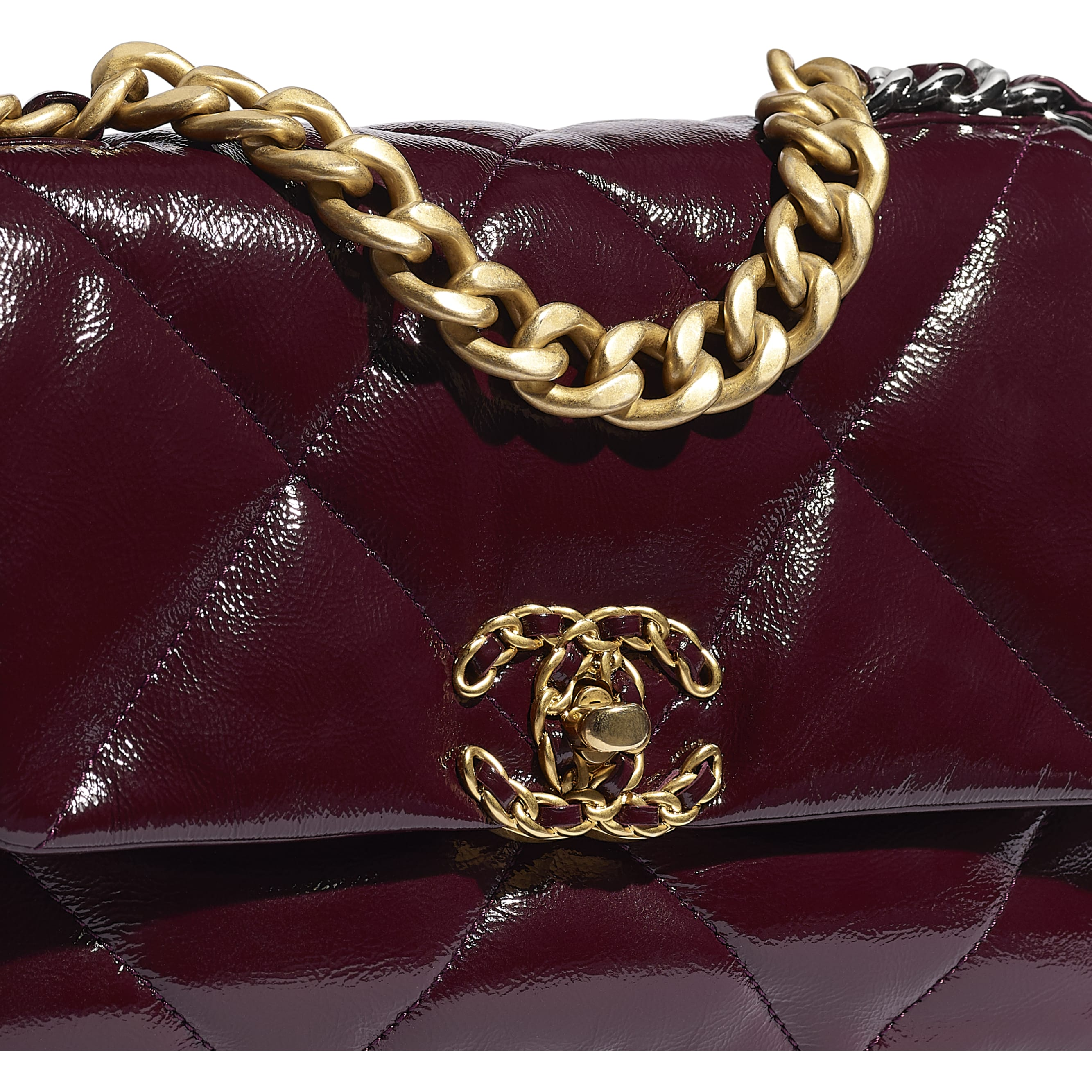 CHANEL 19 Flap Bag - Burgundy - Shiny Crumpled Calfskin, Gold-Tone, Silver-Tone & Ruthenium-Finish Metal - CHANEL - Extra view - see standard sized version