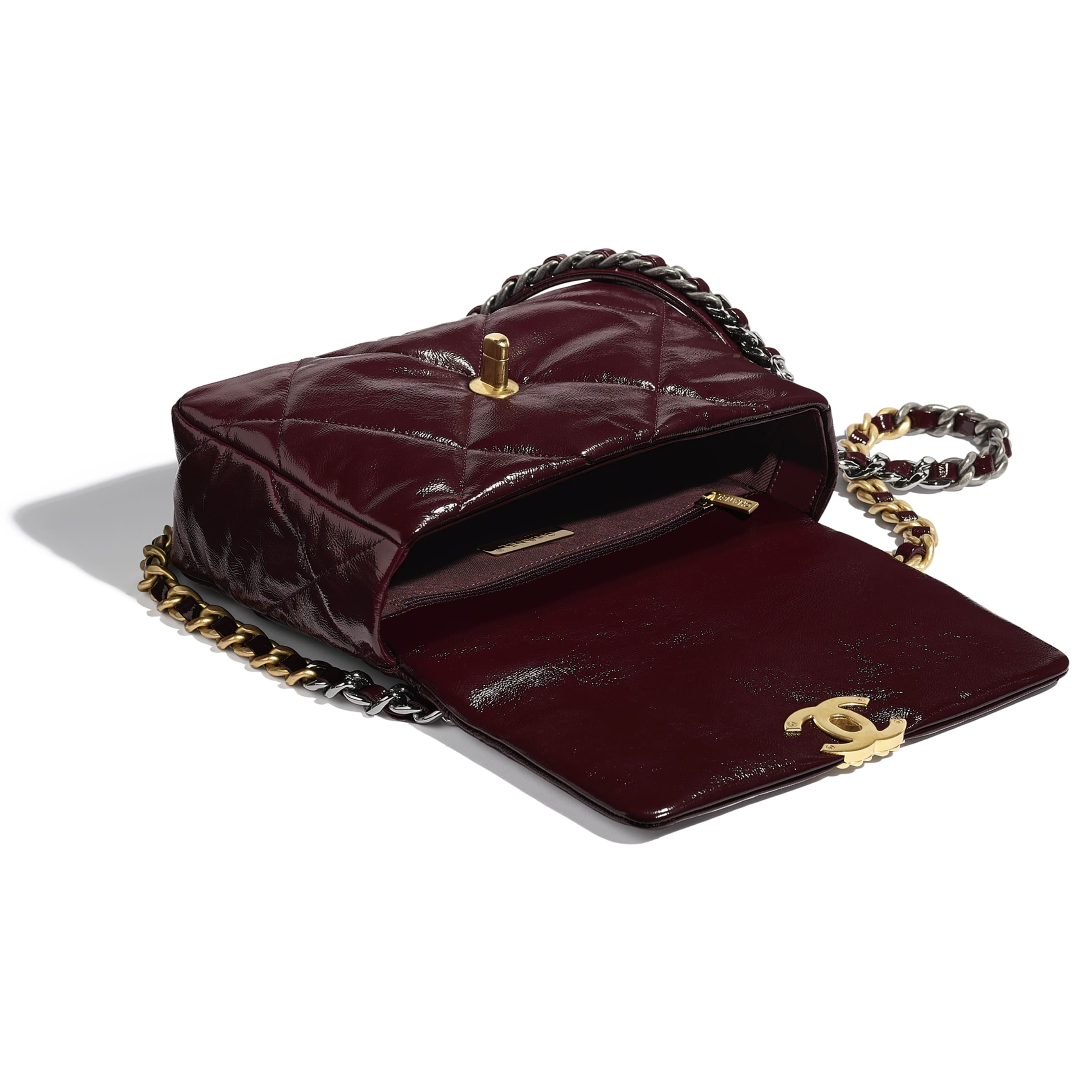 CHANEL 19 Flap Bag - Burgundy - Shiny Crumpled Calfskin, Gold-Tone, Silver-Tone & Ruthenium-Finish Metal - CHANEL - Other view - see standard sized version