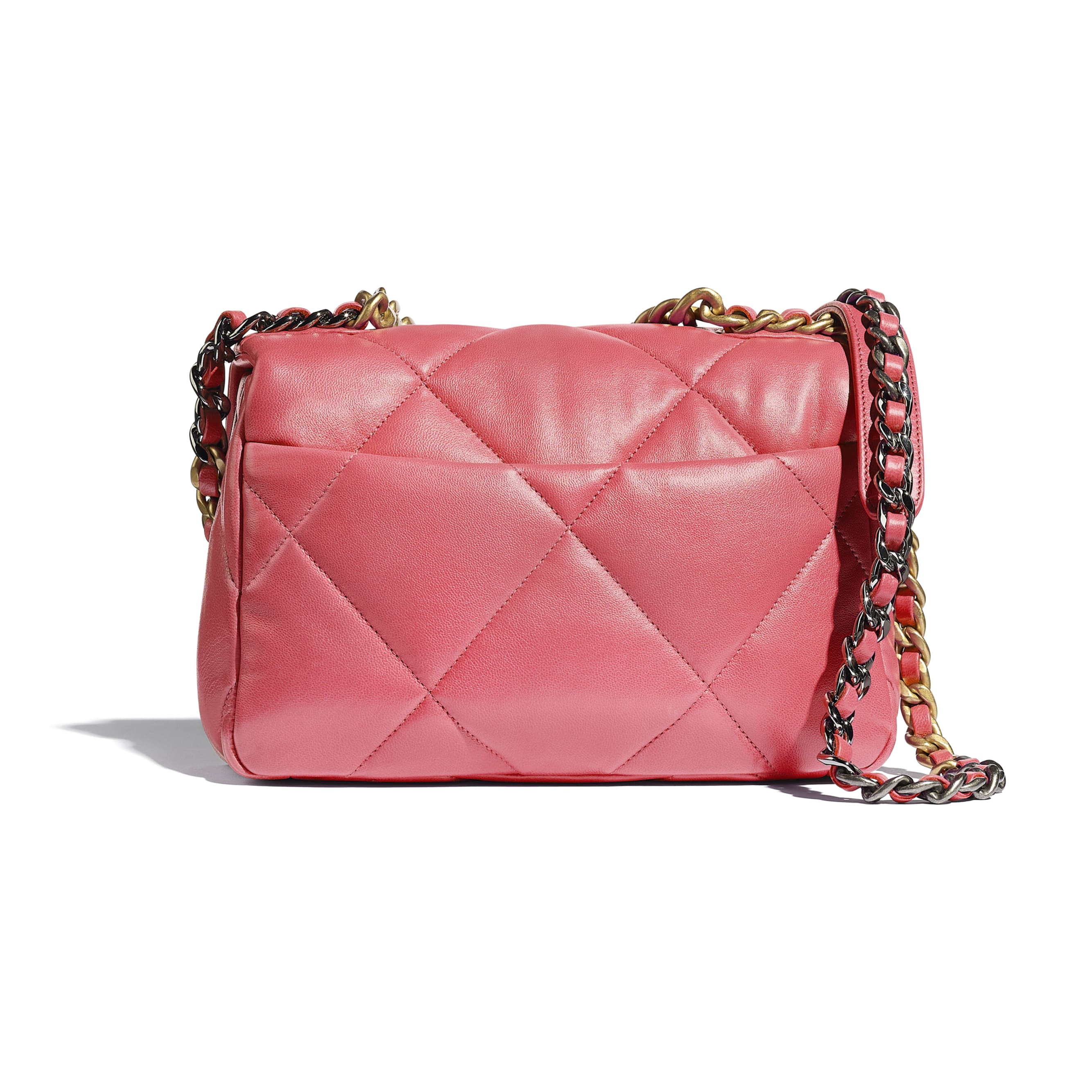 CHANEL 19 Flap Bag - Coral - Lambskin, Gold-Tone, Silver-Tone & Ruthenium-Finish Metal - CHANEL - Alternative view - see standard sized version