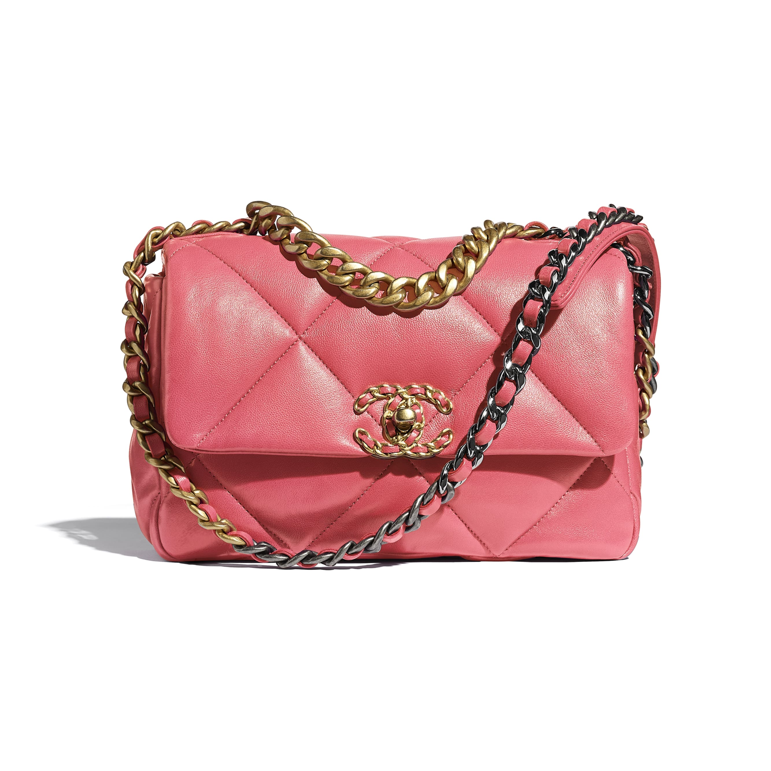 CHANEL 19 Flap Bag - Coral - Lambskin, Gold-Tone, Silver-Tone & Ruthenium-Finish Metal - CHANEL - Default view - see standard sized version