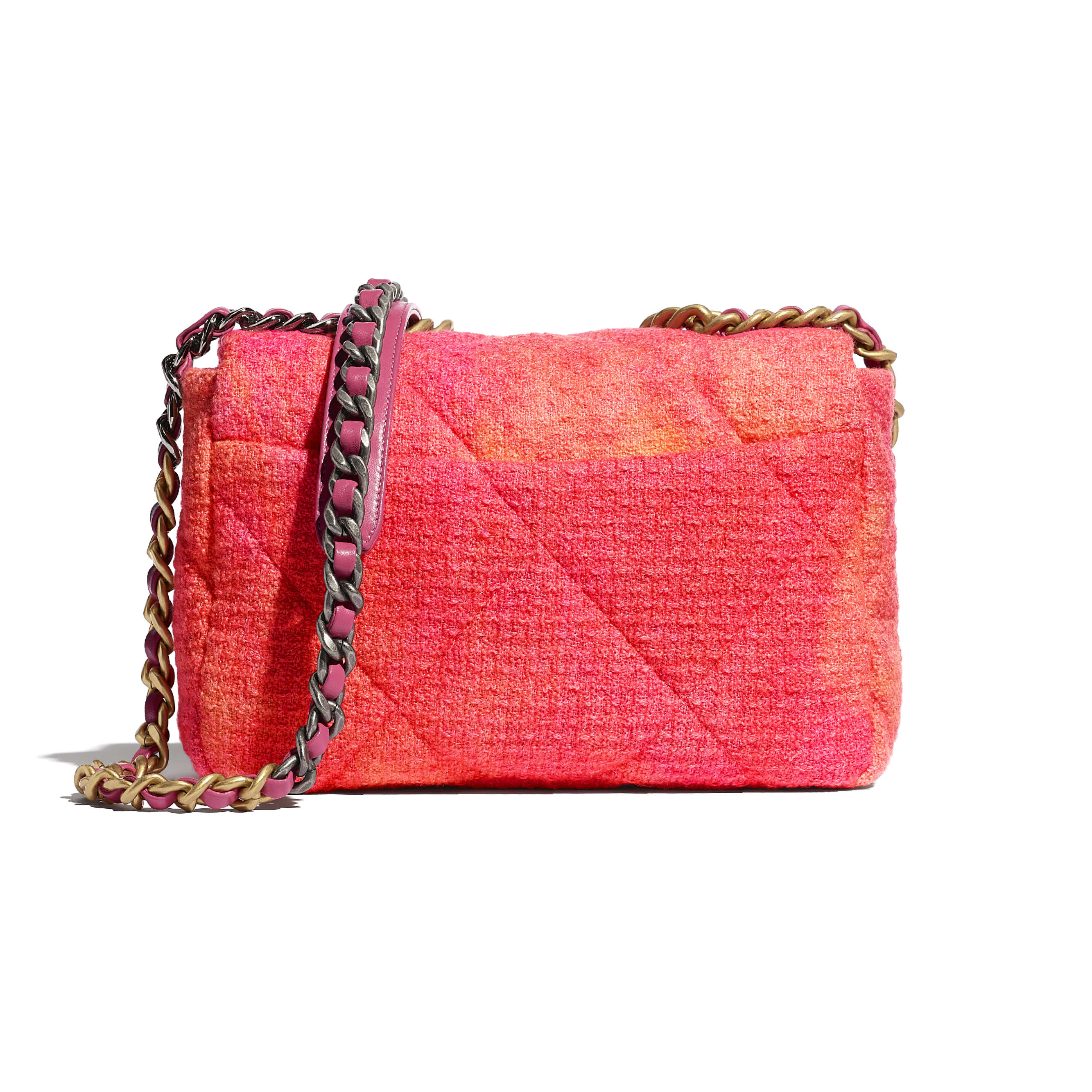 CHANEL 19 Flap Bag - Coral, Pink & Orange - Wool Tweed, Gold-Tone, Silver-Tone & Ruthenium-Finish Metal - CHANEL - Alternative view - see standard sized version