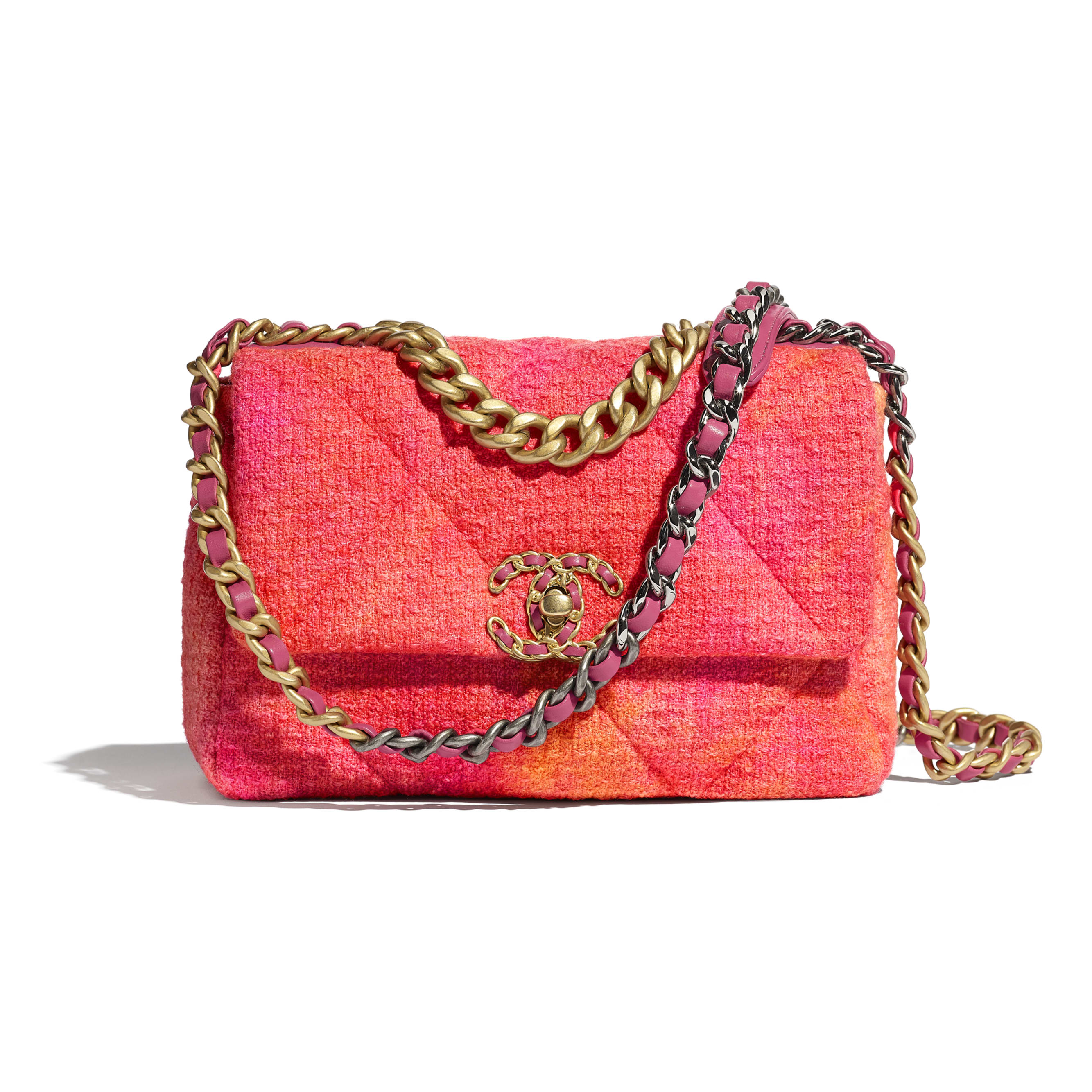 CHANEL 19 Flap Bag - Coral, Pink & Orange - Wool Tweed, Gold-Tone, Silver-Tone & Ruthenium-Finish Metal - CHANEL - Default view - see standard sized version