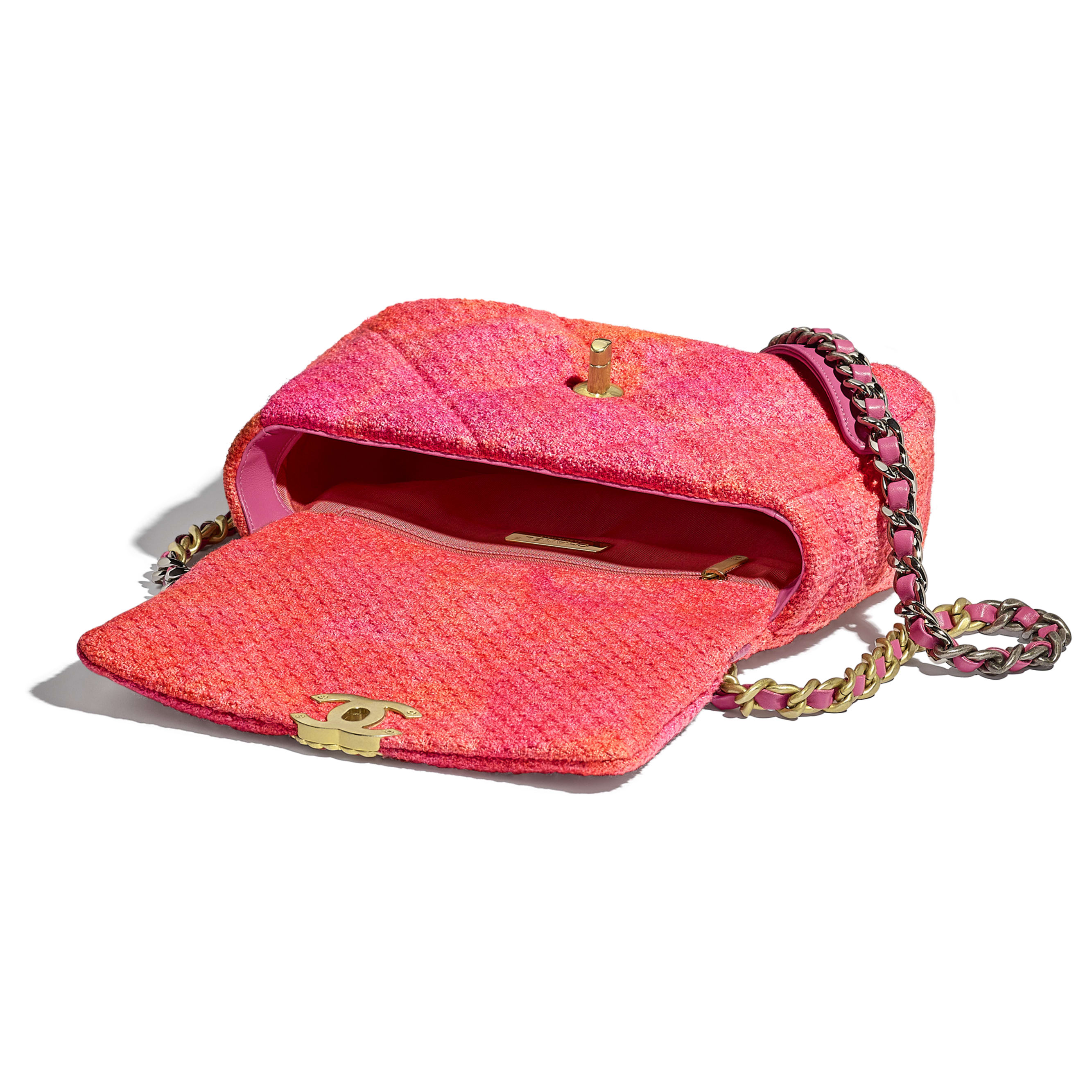 CHANEL 19 Flap Bag - Coral, Pink & Orange - Wool Tweed, Gold-Tone, Silver-Tone & Ruthenium-Finish Metal - CHANEL - Other view - see standard sized version
