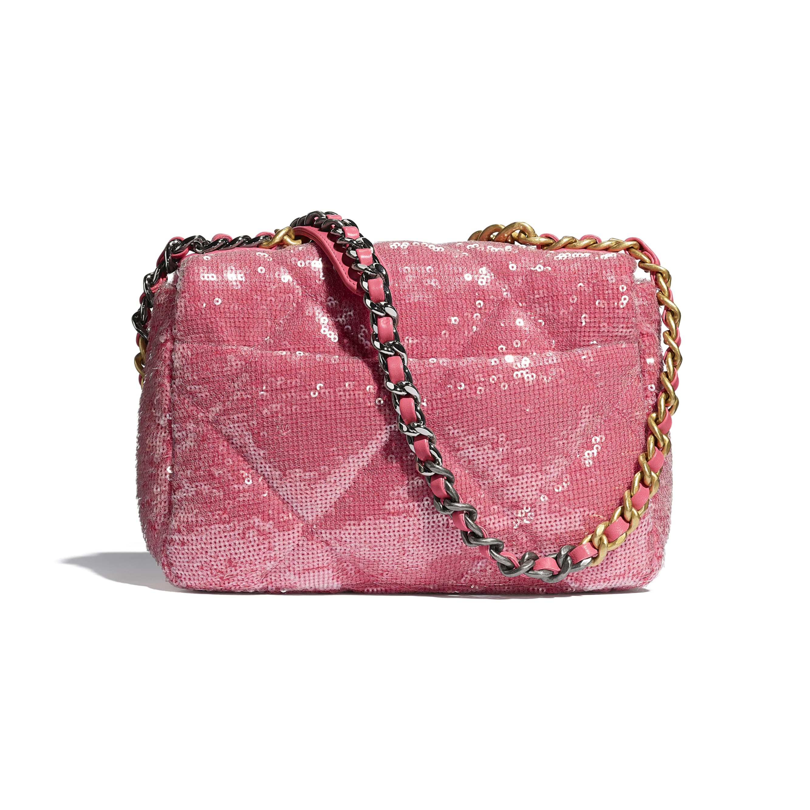 CHANEL 19 Flap Bag - Coral - Sequins, calfksin, silver-tone & gold-tone metal - CHANEL - Alternative view - see standard sized version