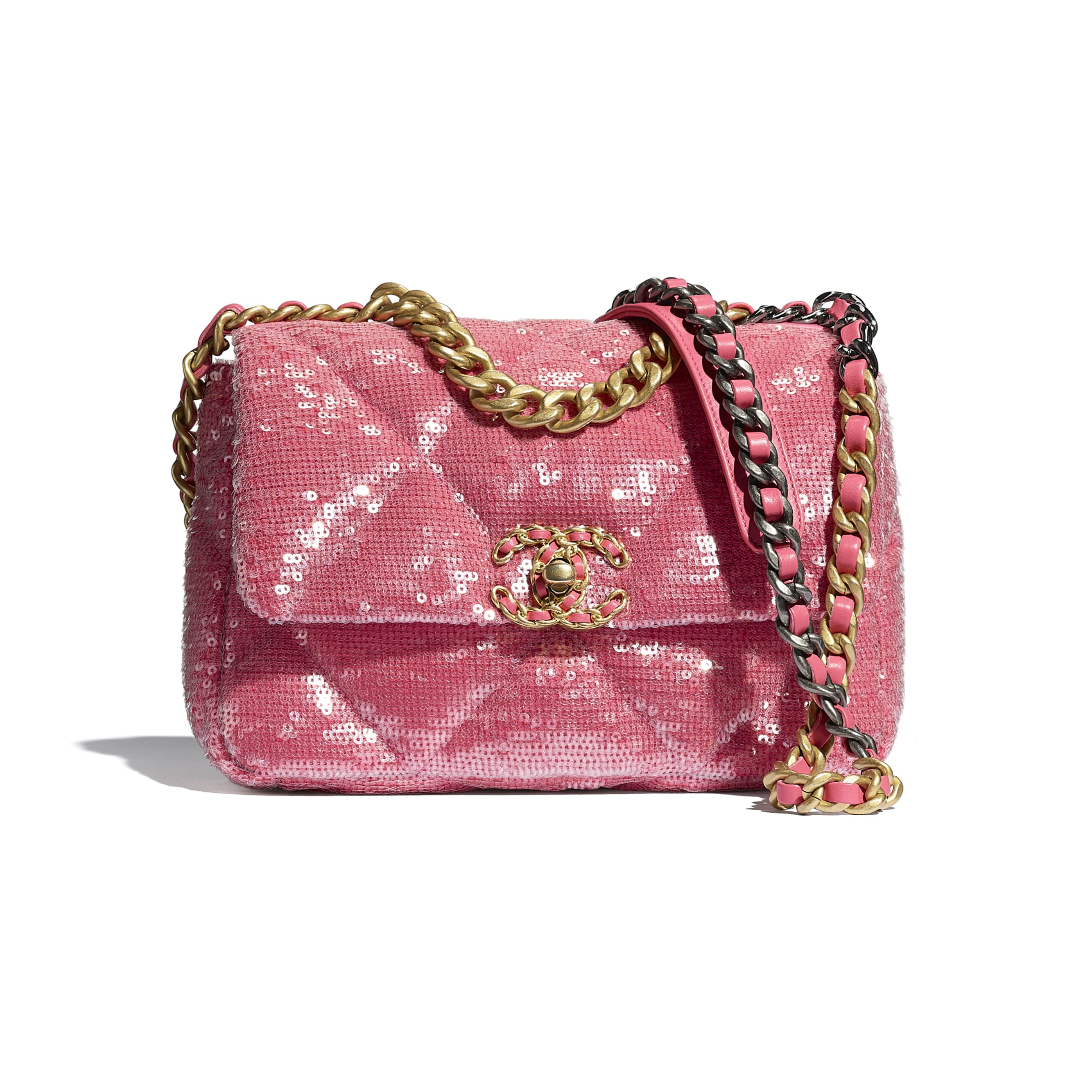 CHANEL 19 Flap Bag - Coral - Sequins, calfksin, silver-tone & gold-tone metal - CHANEL - Default view - see standard sized version