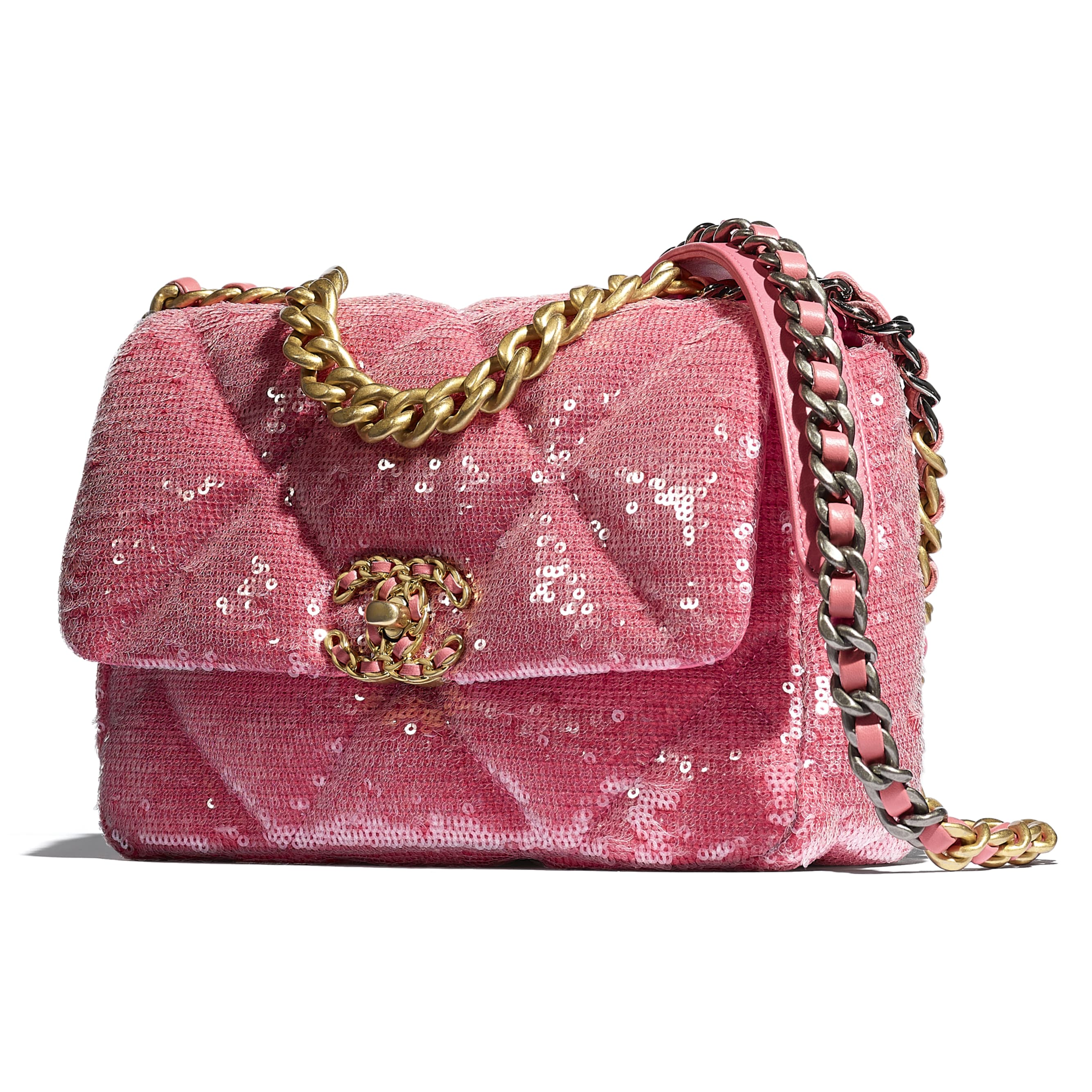 CHANEL 19 Flap Bag - Coral - Sequins, calfksin, silver-tone & gold-tone metal - CHANEL - Extra view - see standard sized version