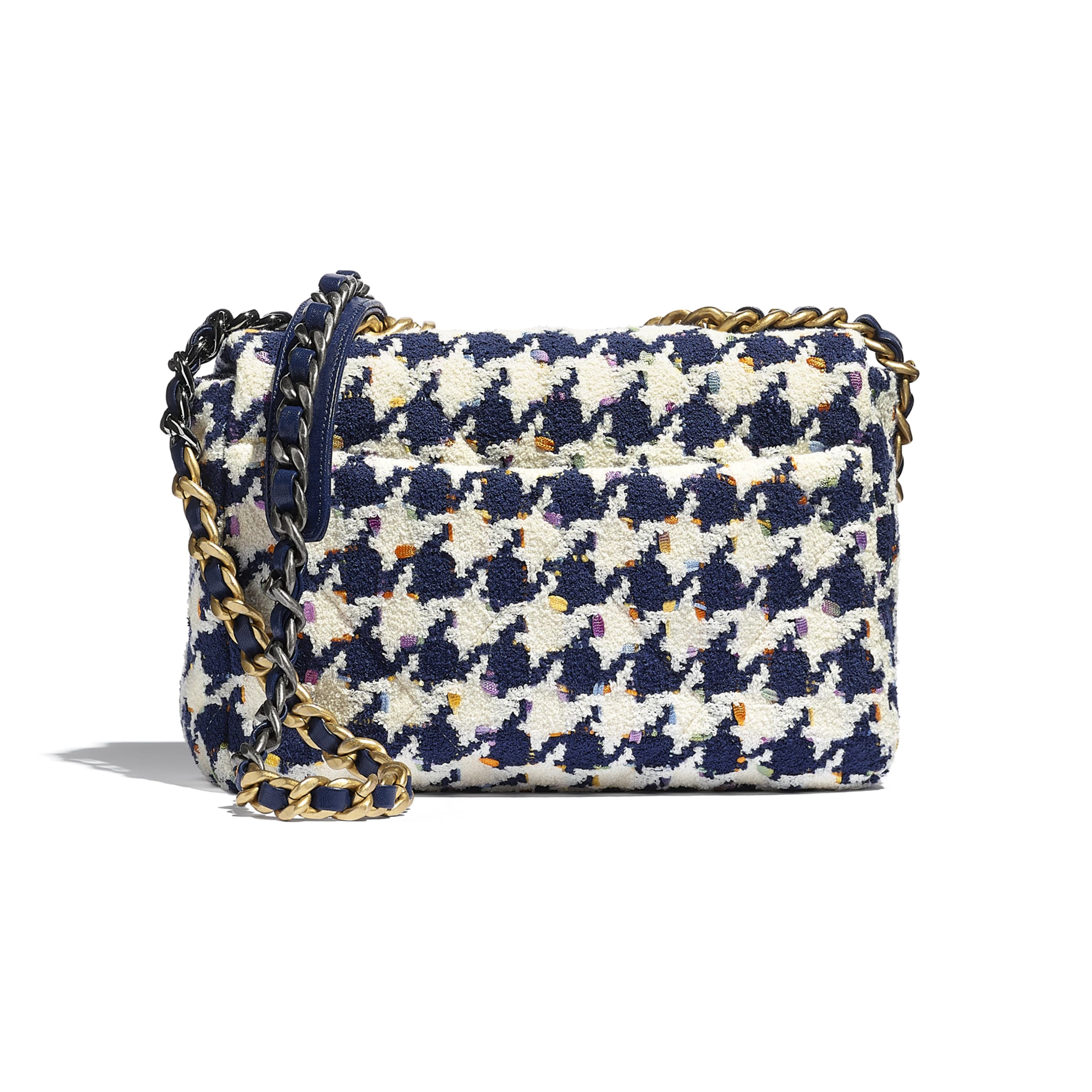 CHANEL 19 Flap Bag - Ecru, Navy Blue & Multicolour - Tweed, Gold-Tone, Silver-Tone & Ruthenium-Finish Metal - CHANEL - Alternative view - see standard sized version