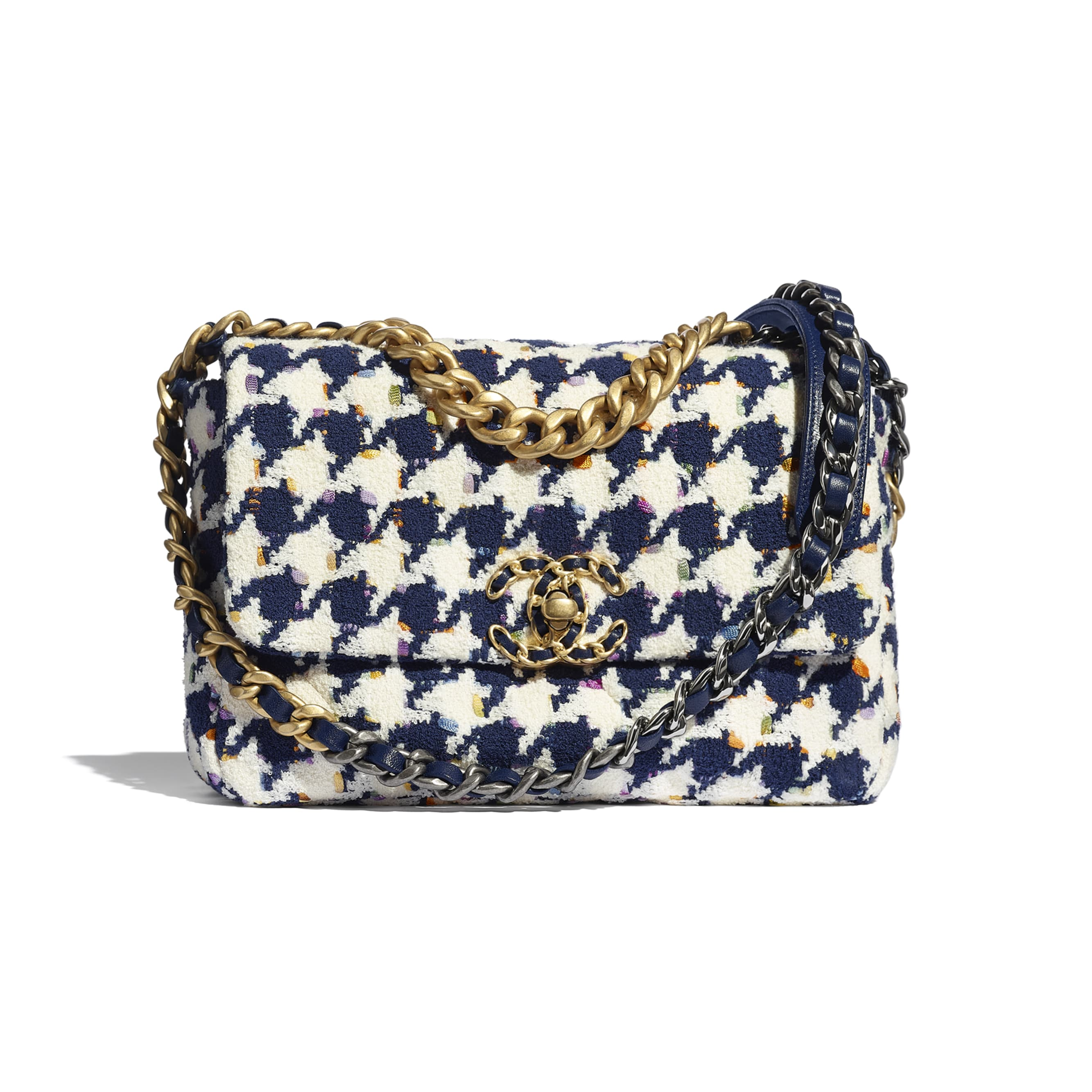 CHANEL 19 Flap Bag - Ecru, Navy Blue & Multicolour - Tweed, Gold-Tone, Silver-Tone & Ruthenium-Finish Metal - CHANEL - Default view - see standard sized version