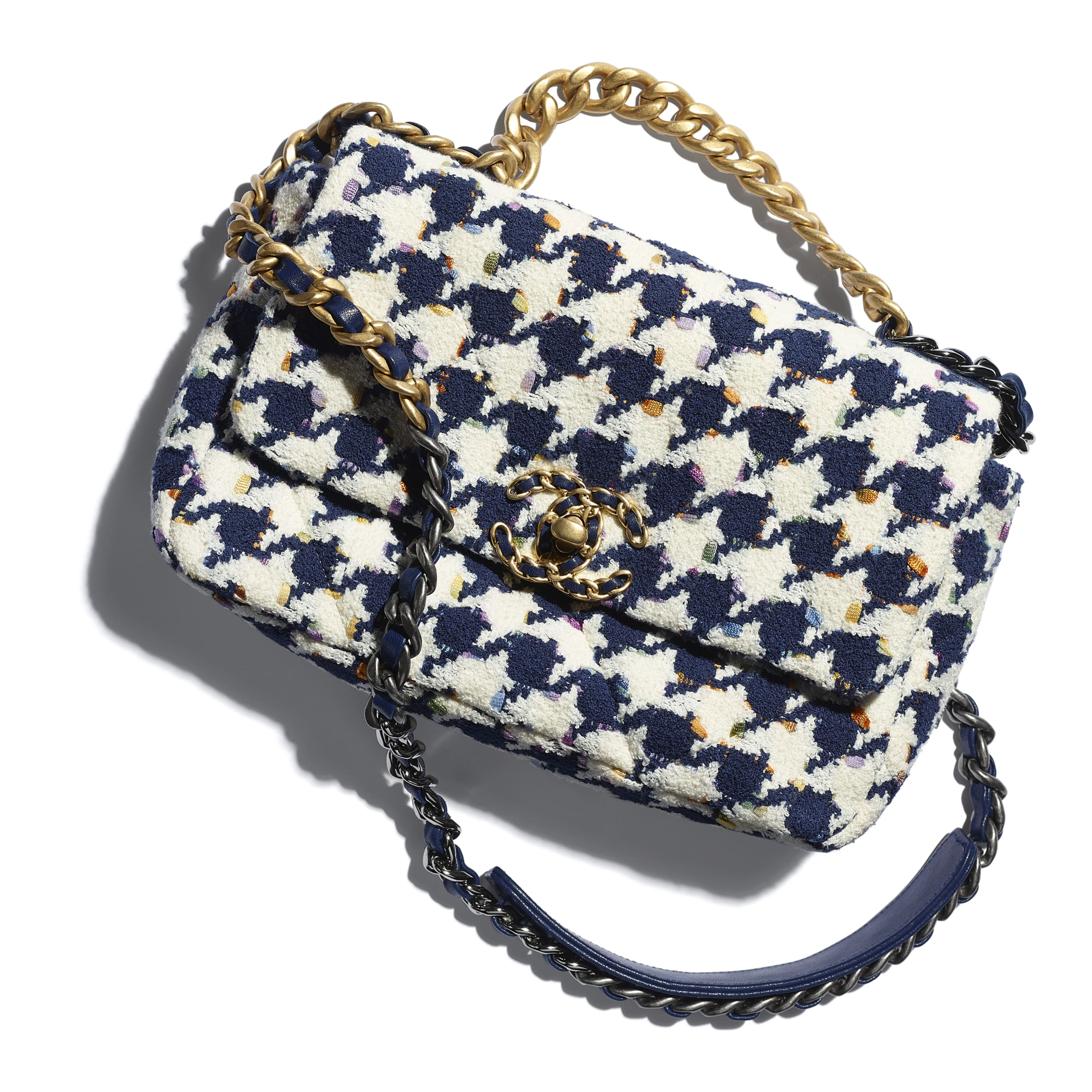 CHANEL 19 Flap Bag - Ecru, Navy Blue & Multicolour - Tweed, Gold-Tone, Silver-Tone & Ruthenium-Finish Metal - CHANEL - Extra view - see standard sized version
