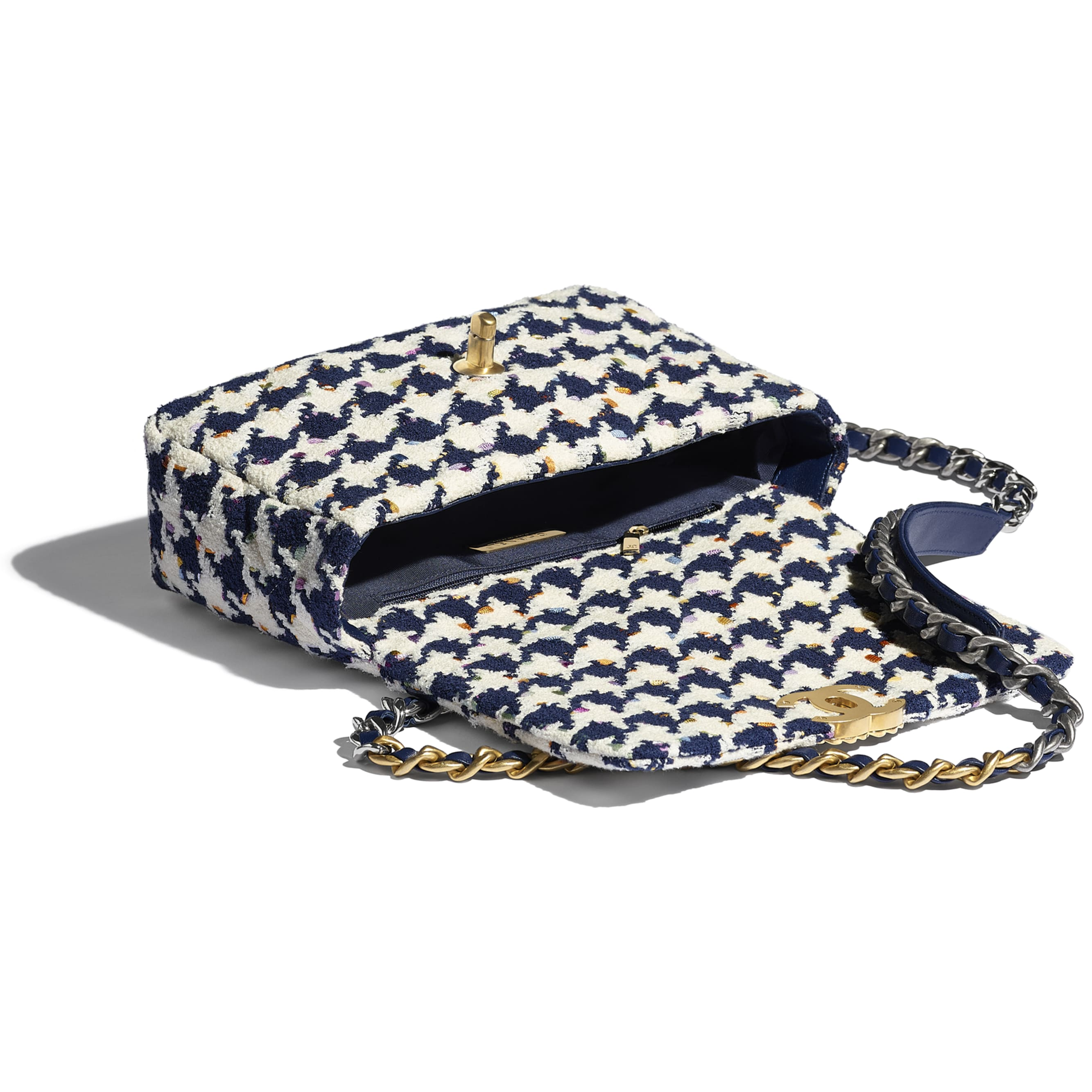CHANEL 19 Flap Bag - Ecru, Navy Blue & Multicolour - Tweed, Gold-Tone, Silver-Tone & Ruthenium-Finish Metal - CHANEL - Other view - see standard sized version