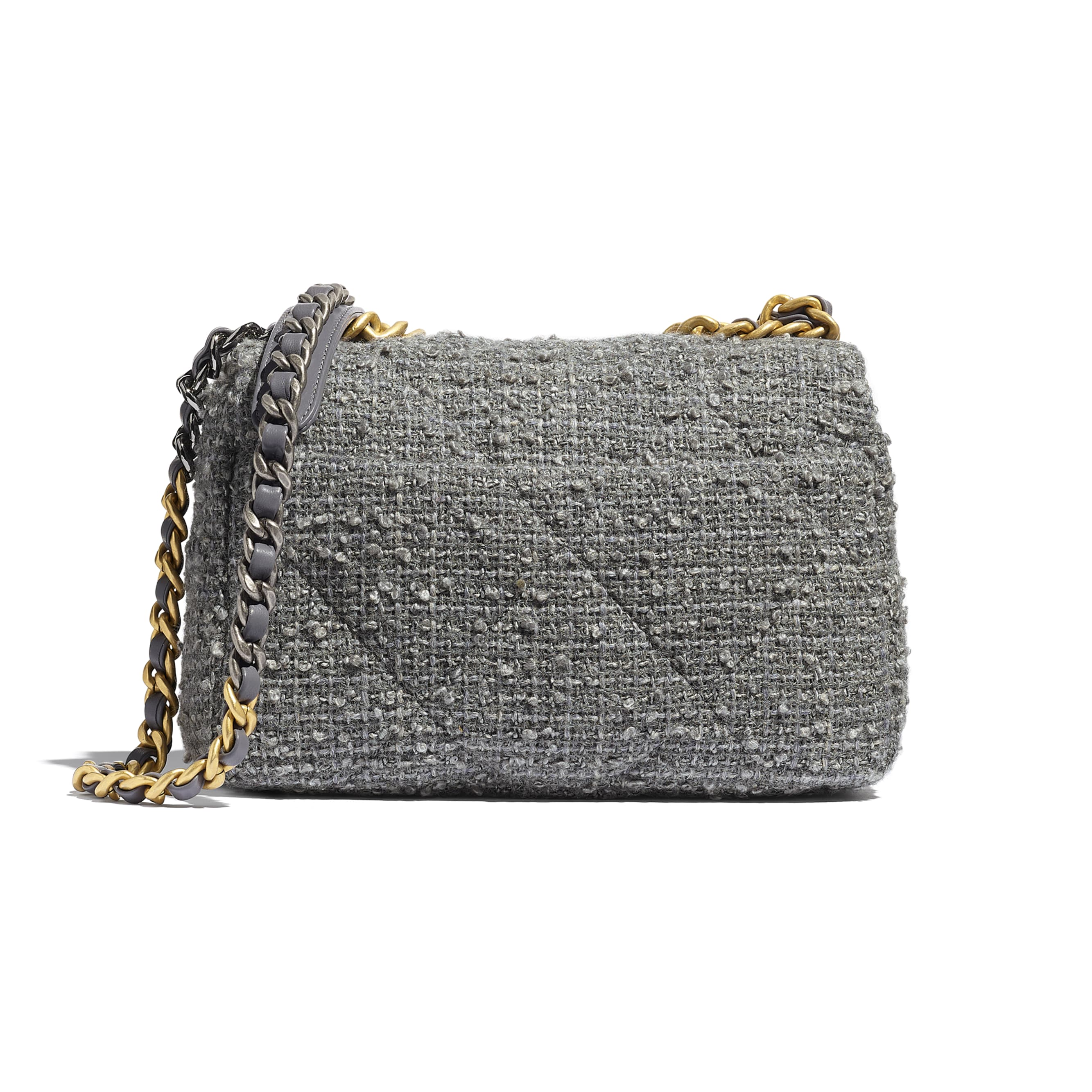 CHANEL 19 Flap Bag - Grey - Wool Tweed, Gold-Tone, Silver-Tone & Ruthenium-Finish Metal - CHANEL - Alternative view - see standard sized version
