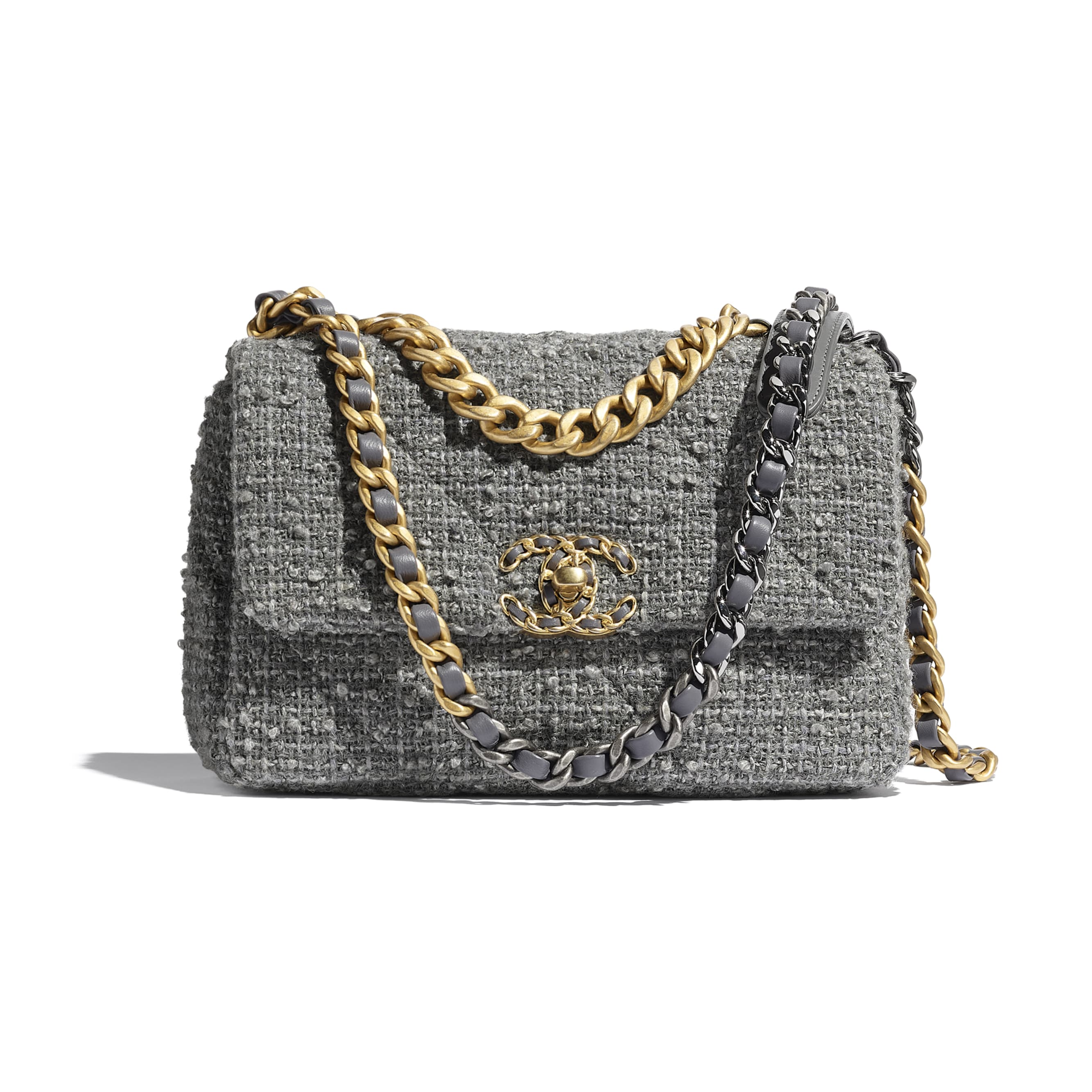 CHANEL 19 Flap Bag - Grey - Wool Tweed, Gold-Tone, Silver-Tone & Ruthenium-Finish Metal - CHANEL - Default view - see standard sized version