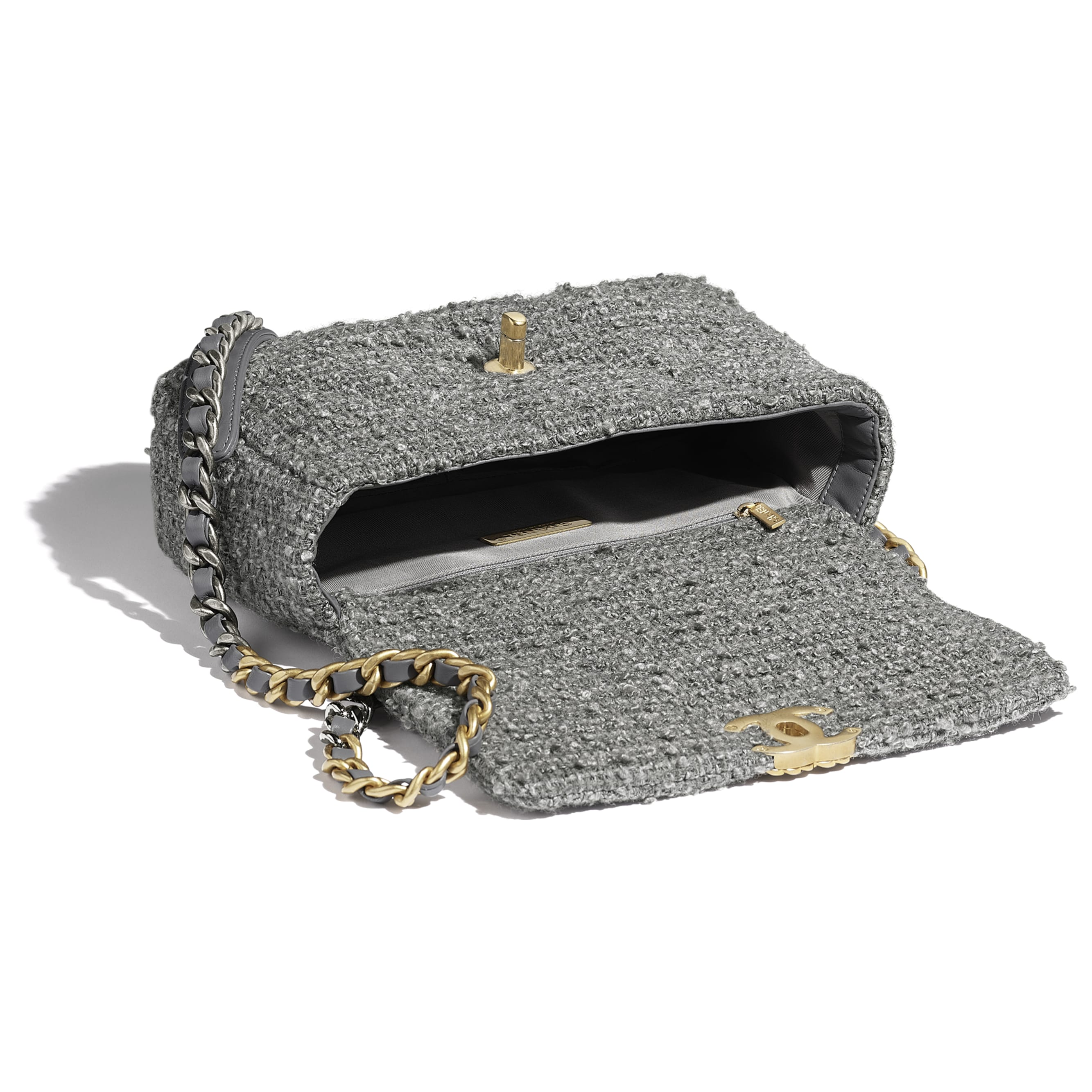 CHANEL 19 Flap Bag - Grey - Wool Tweed, Gold-Tone, Silver-Tone & Ruthenium-Finish Metal - CHANEL - Other view - see standard sized version