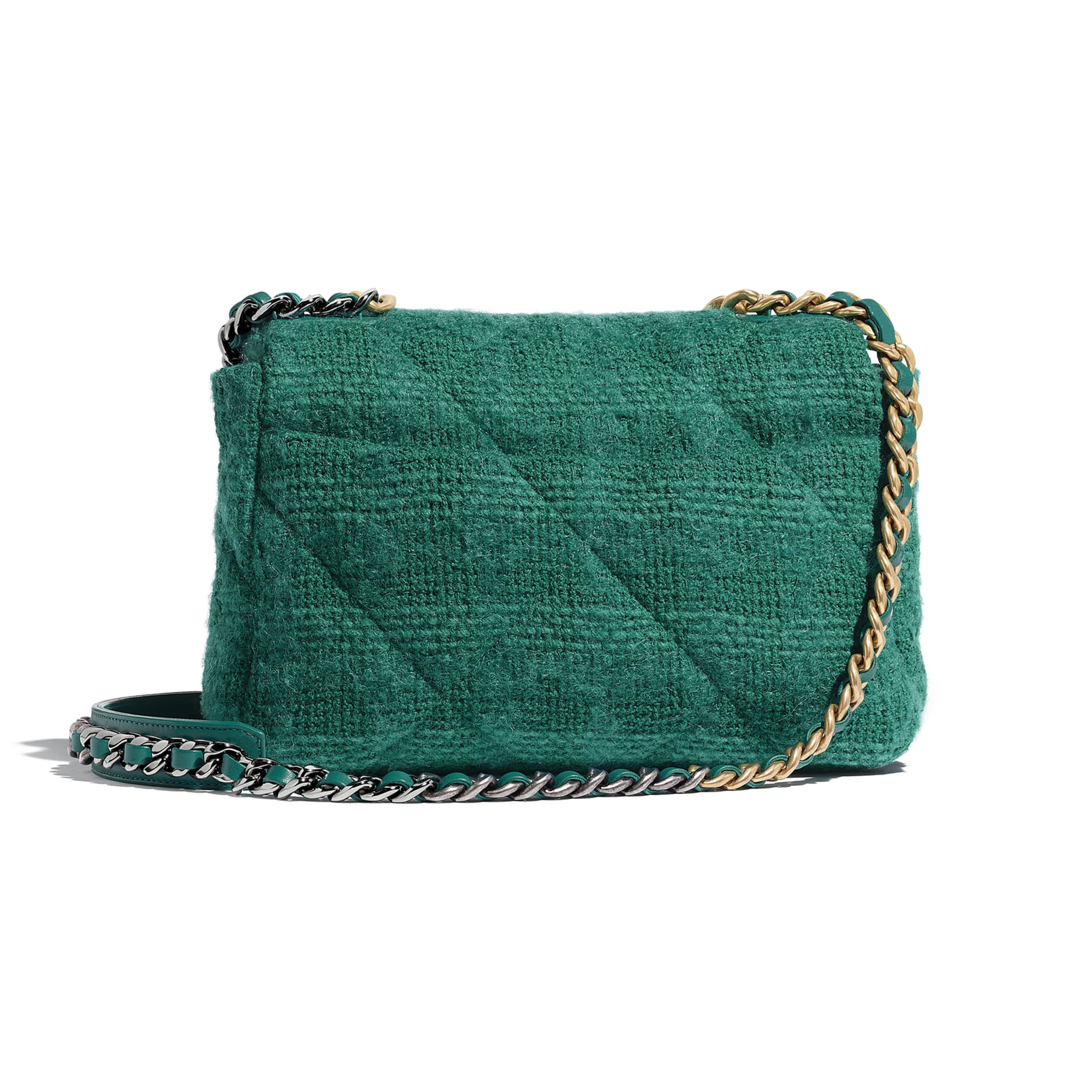 CHANEL 19 Flap Bag - Green - Wool Tweed, Gold-Tone, Silver-Tone & Ruthenium-Finish Metal - Alternative view - see standard sized version