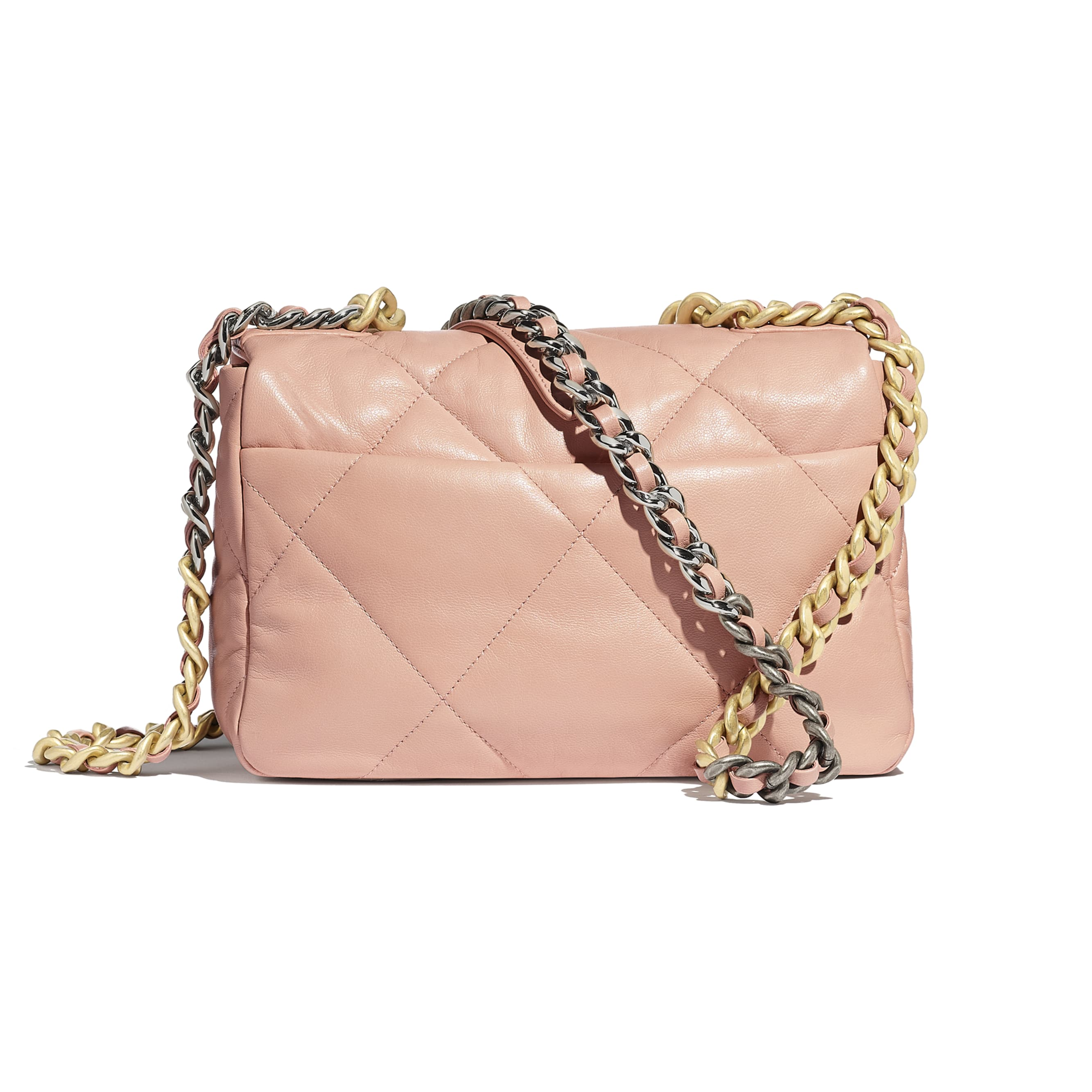 CHANEL 19 Flap Bag - Light Pink - Goatskin, Gold-Tone, Silver-Tone & Ruthenium-Finish Metal - Alternative view - see standard sized version