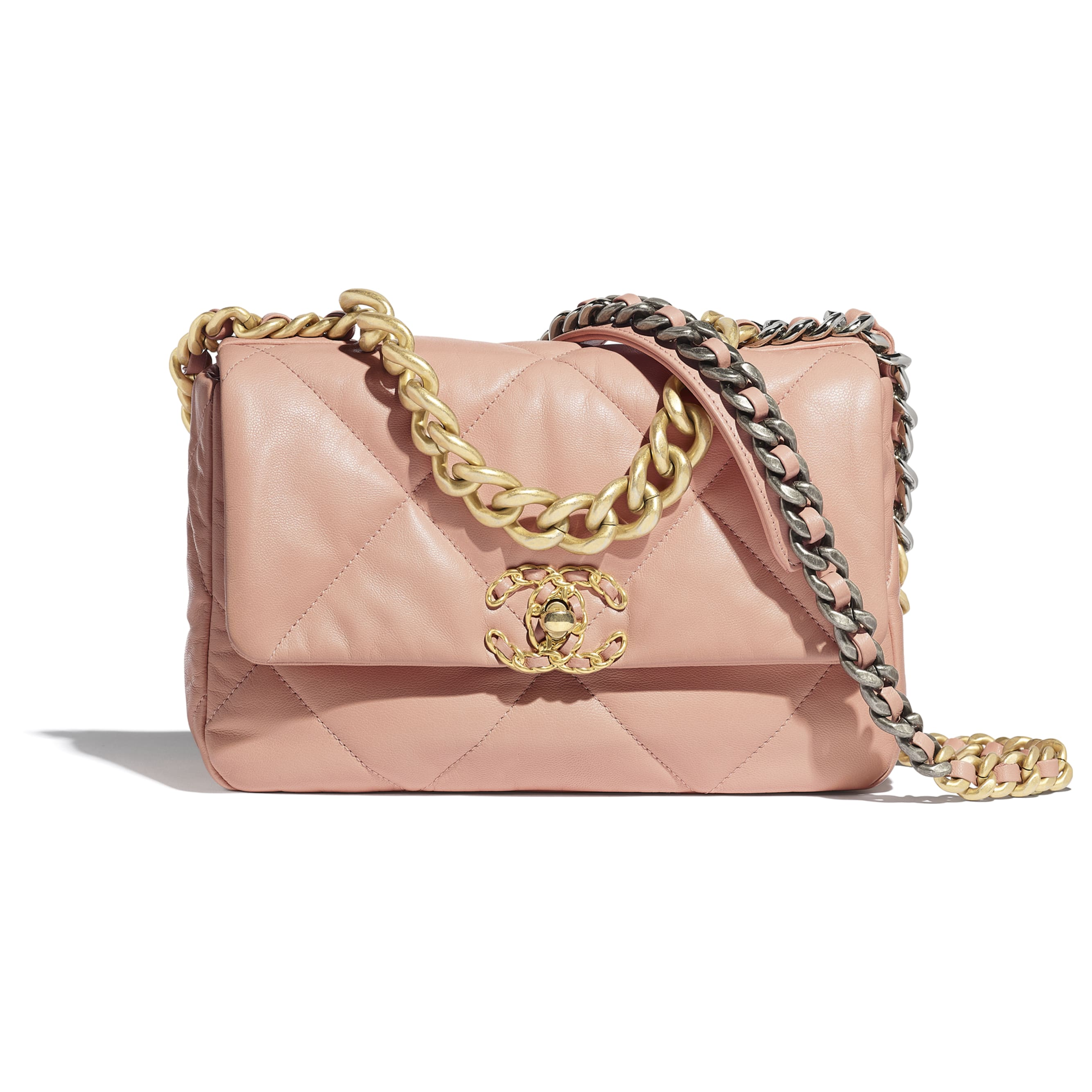 CHANEL 19 Flap Bag - Light Pink - Goatskin, Gold-Tone, Silver-Tone & Ruthenium-Finish Metal - Default view - see standard sized version