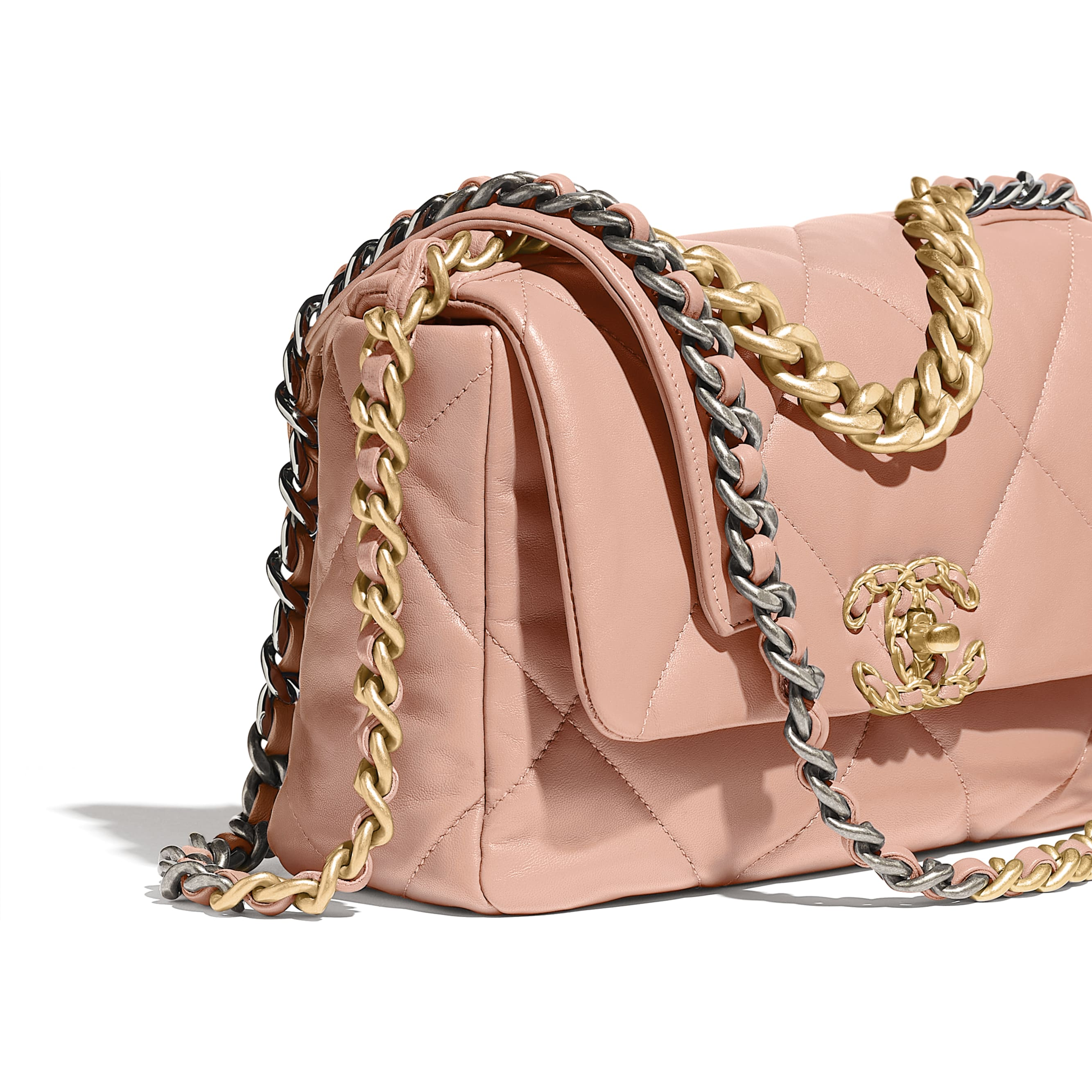 CHANEL 19 Flap Bag - Light Pink - Goatskin, Gold-Tone, Silver-Tone & Ruthenium-Finish Metal - Extra view - see standard sized version