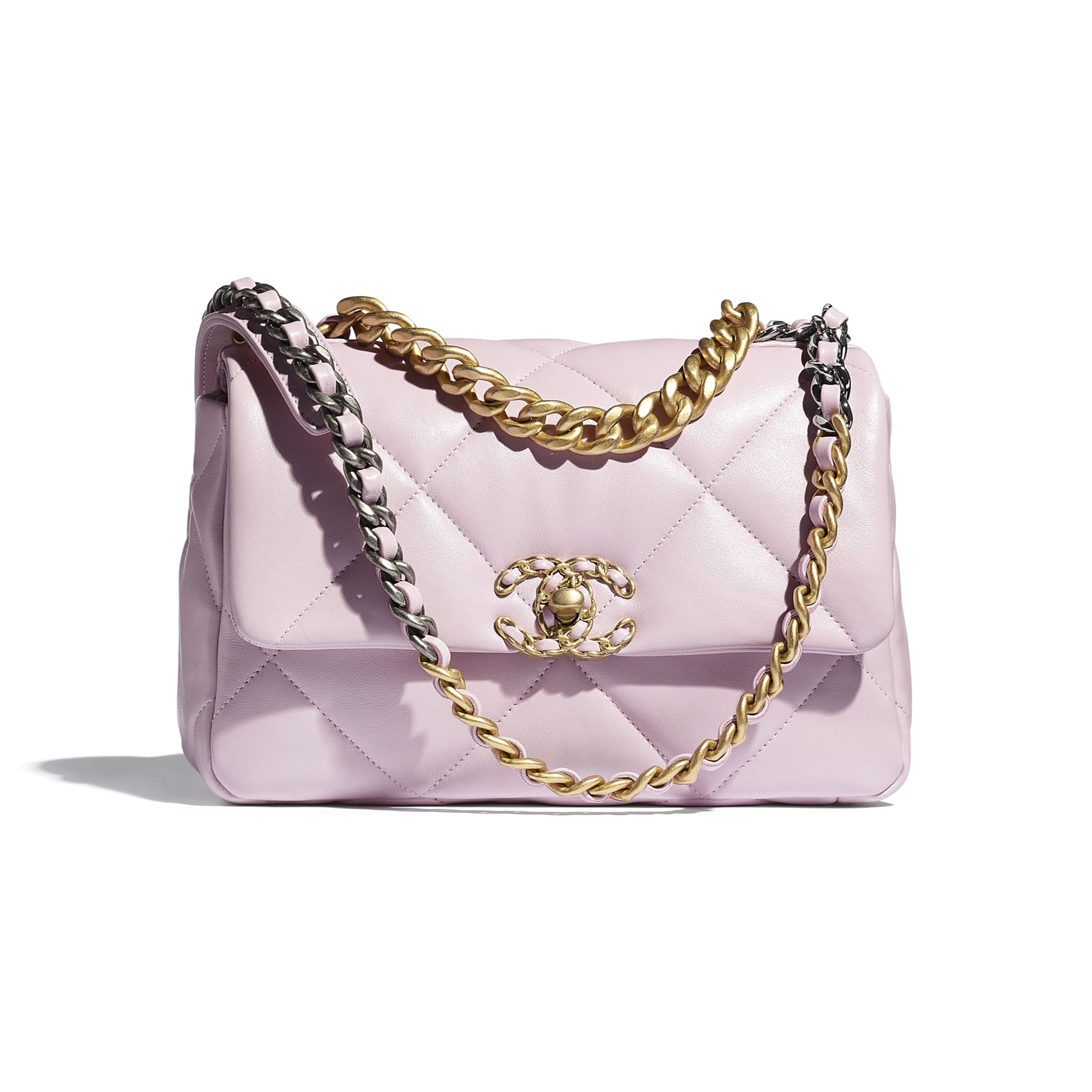 CHANEL 19 Flap Bag - Light Pink - Lambskin, Gold-Tone, Silver-Tone & Ruthenium-Finish Metal - CHANEL - Default view - see standard sized version
