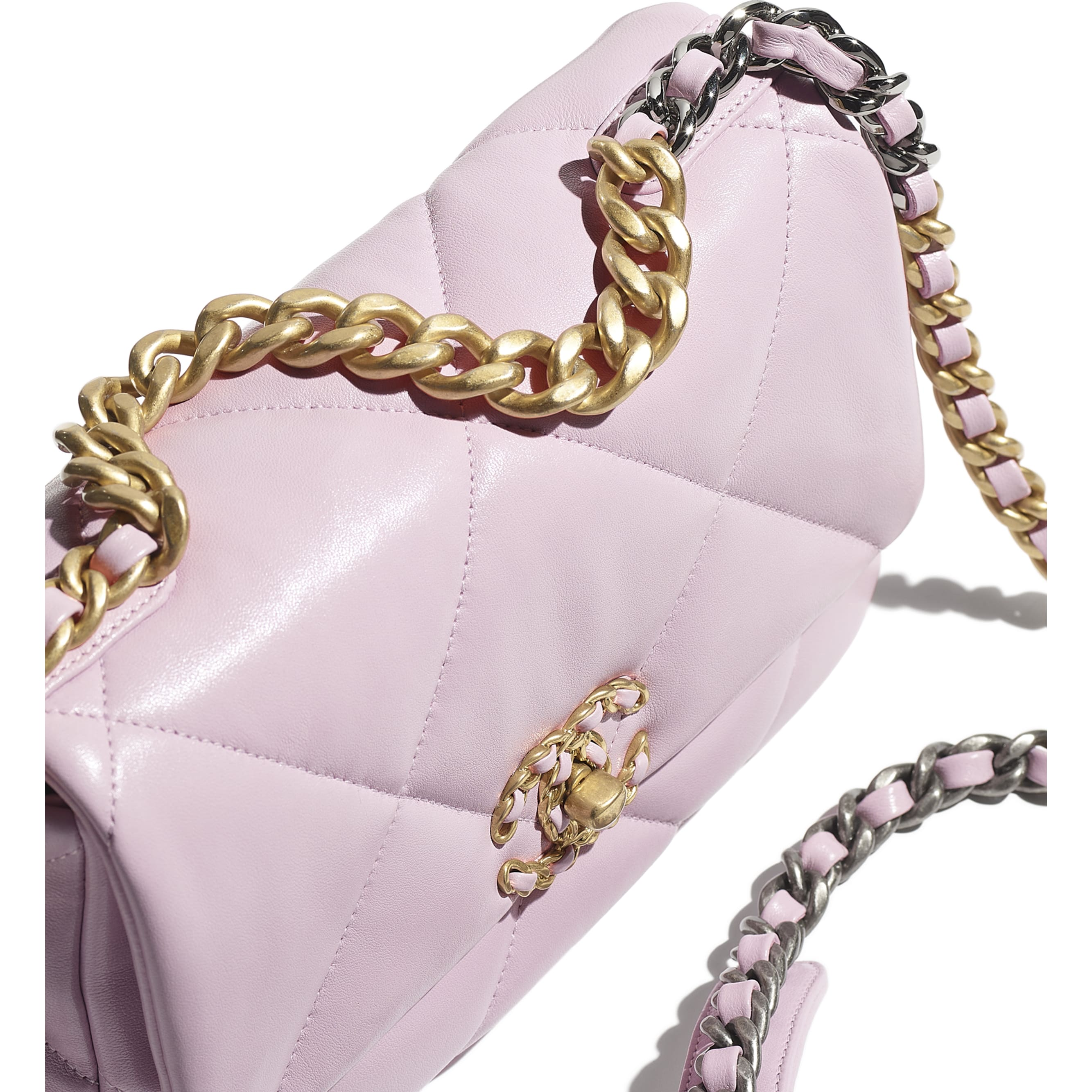 CHANEL 19 Flap Bag - Light Pink - Lambskin, Gold-Tone, Silver-Tone & Ruthenium-Finish Metal - CHANEL - Extra view - see standard sized version