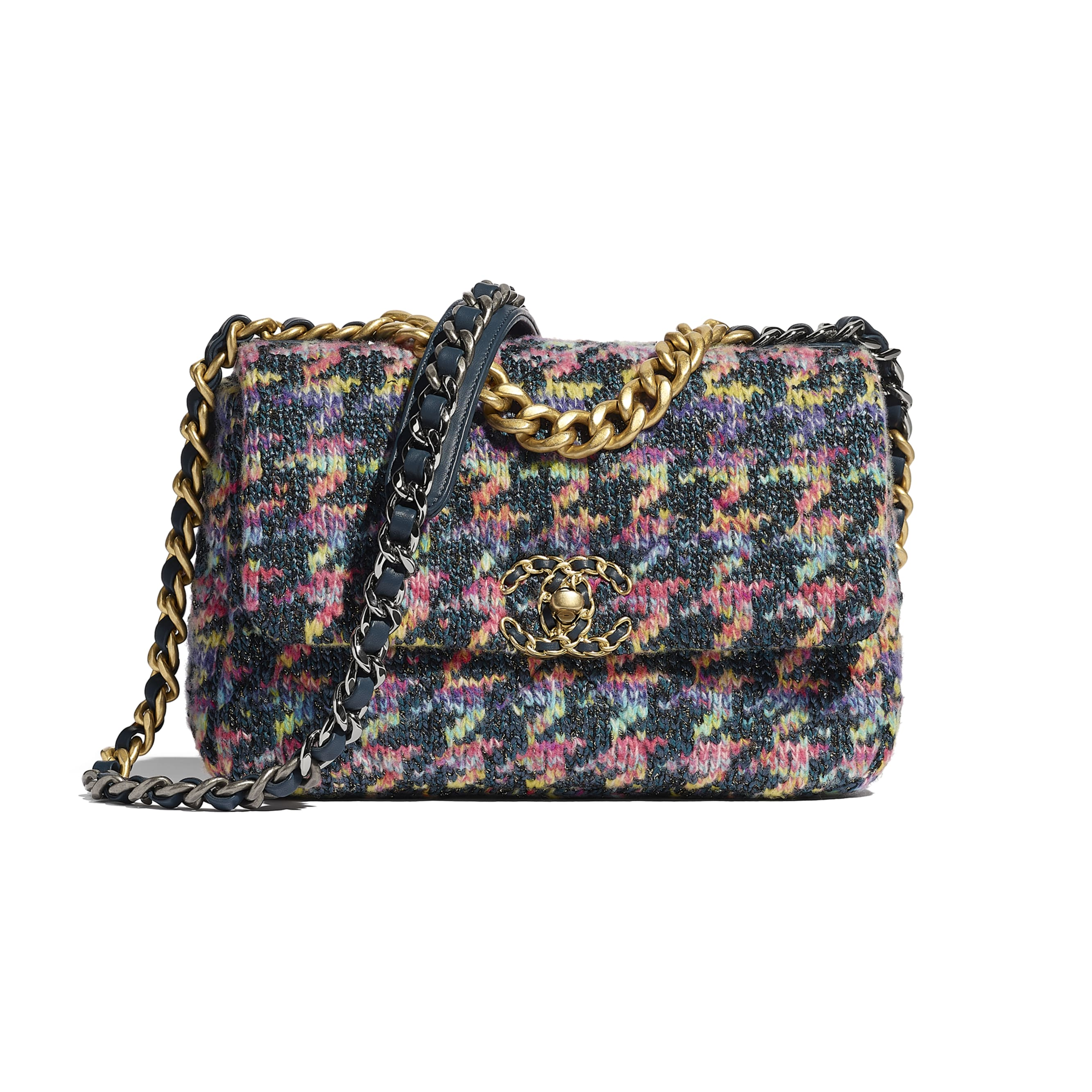 CHANEL 19 Flap Bag - Multicolour - Knit, Gold-Tone, Silver-Tone & Ruthenium-Finish Metal - CHANEL - Default view - see standard sized version