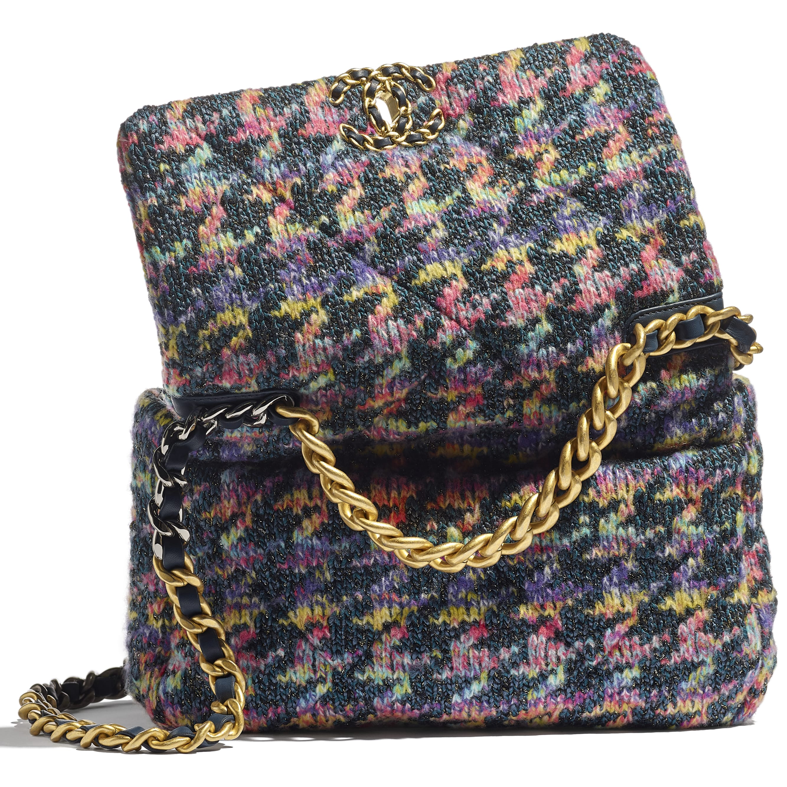 CHANEL 19 Flap Bag - Multicolour - Knit, Gold-Tone, Silver-Tone & Ruthenium-Finish Metal - CHANEL - Extra view - see standard sized version