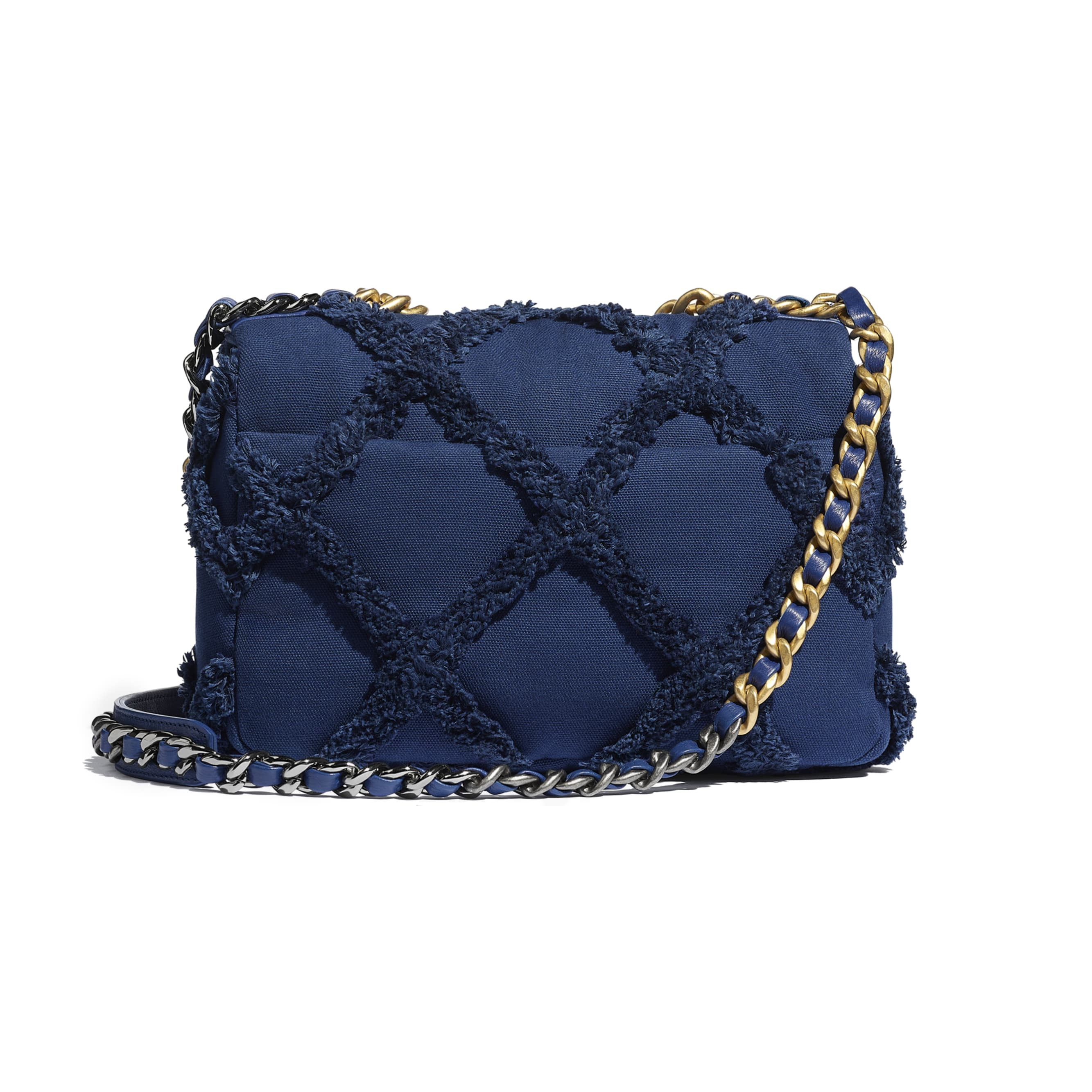 CHANEL 19 Flap Bag - Navy Blue - Cotton Canvas, Calfskin, Gold-Tone, Silver-Tone & Ruthenium-Finish Metal - CHANEL - Alternative view - see standard sized version