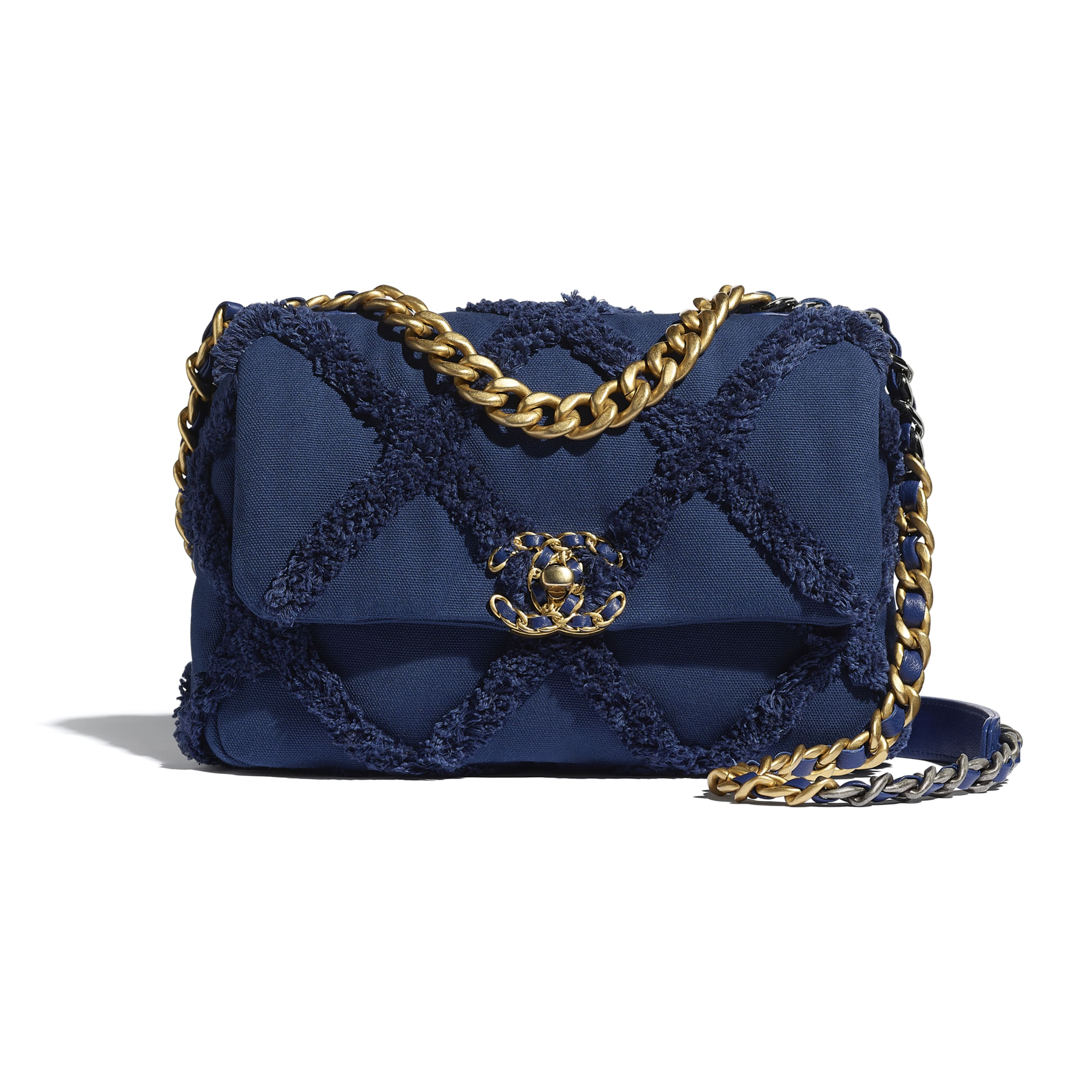CHANEL 19 Flap Bag - Navy Blue - Cotton Canvas, Calfskin, Gold-Tone, Silver-Tone & Ruthenium-Finish Metal - CHANEL - Default view - see standard sized version