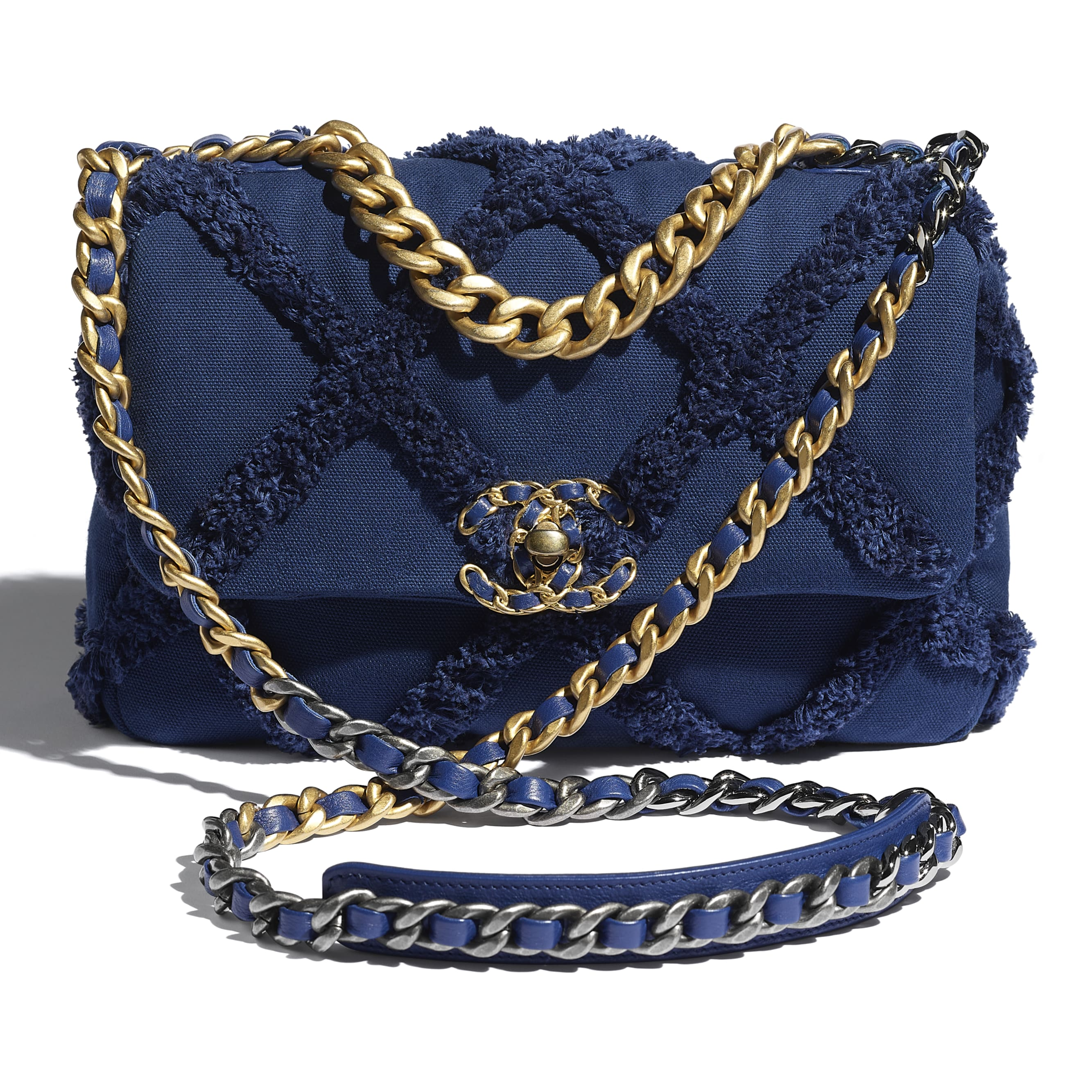 CHANEL 19 Flap Bag - Navy Blue - Cotton Canvas, Calfskin, Gold-Tone, Silver-Tone & Ruthenium-Finish Metal - CHANEL - Extra view - see standard sized version