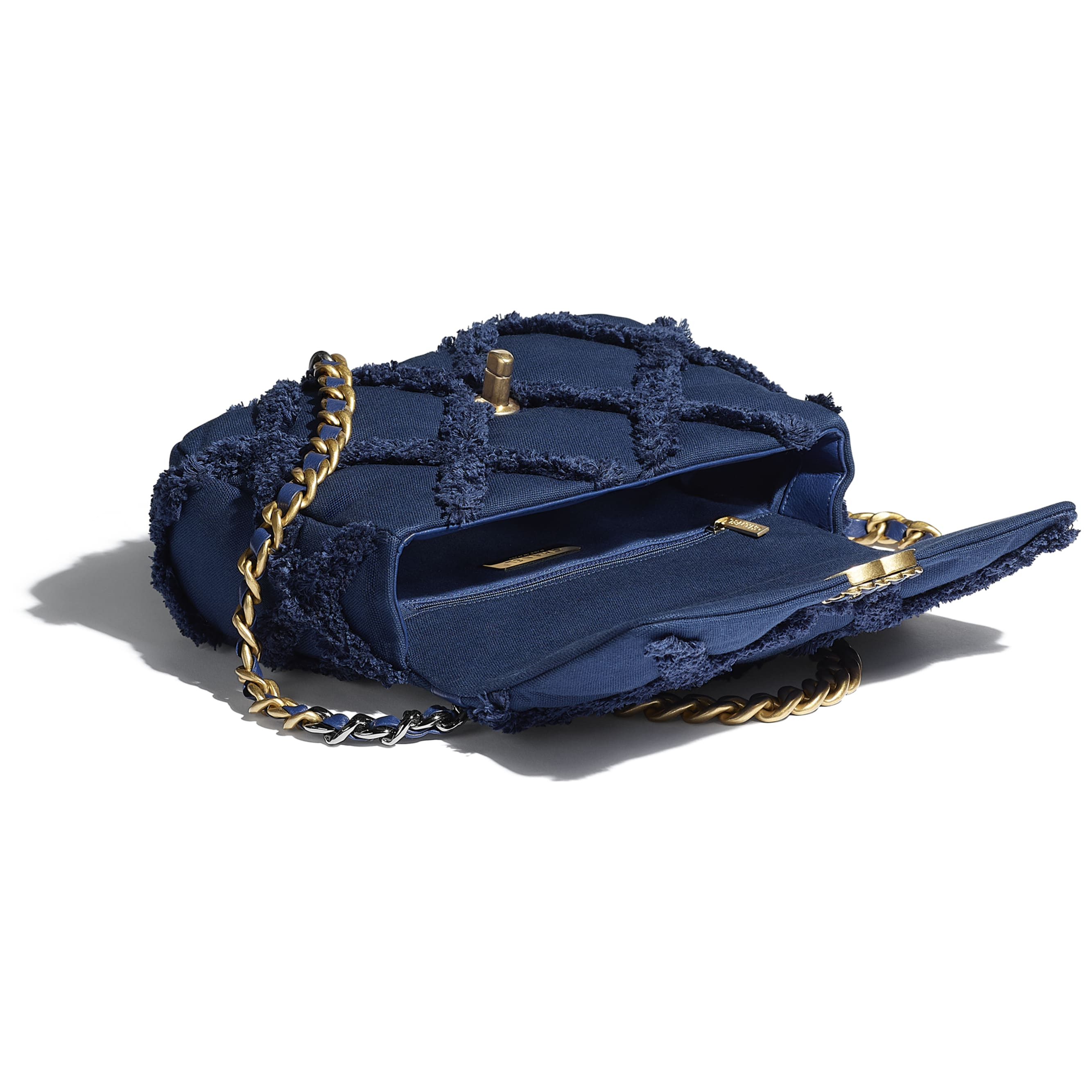 CHANEL 19 Flap Bag - Navy Blue - Cotton Canvas, Calfskin, Gold-Tone, Silver-Tone & Ruthenium-Finish Metal - CHANEL - Other view - see standard sized version