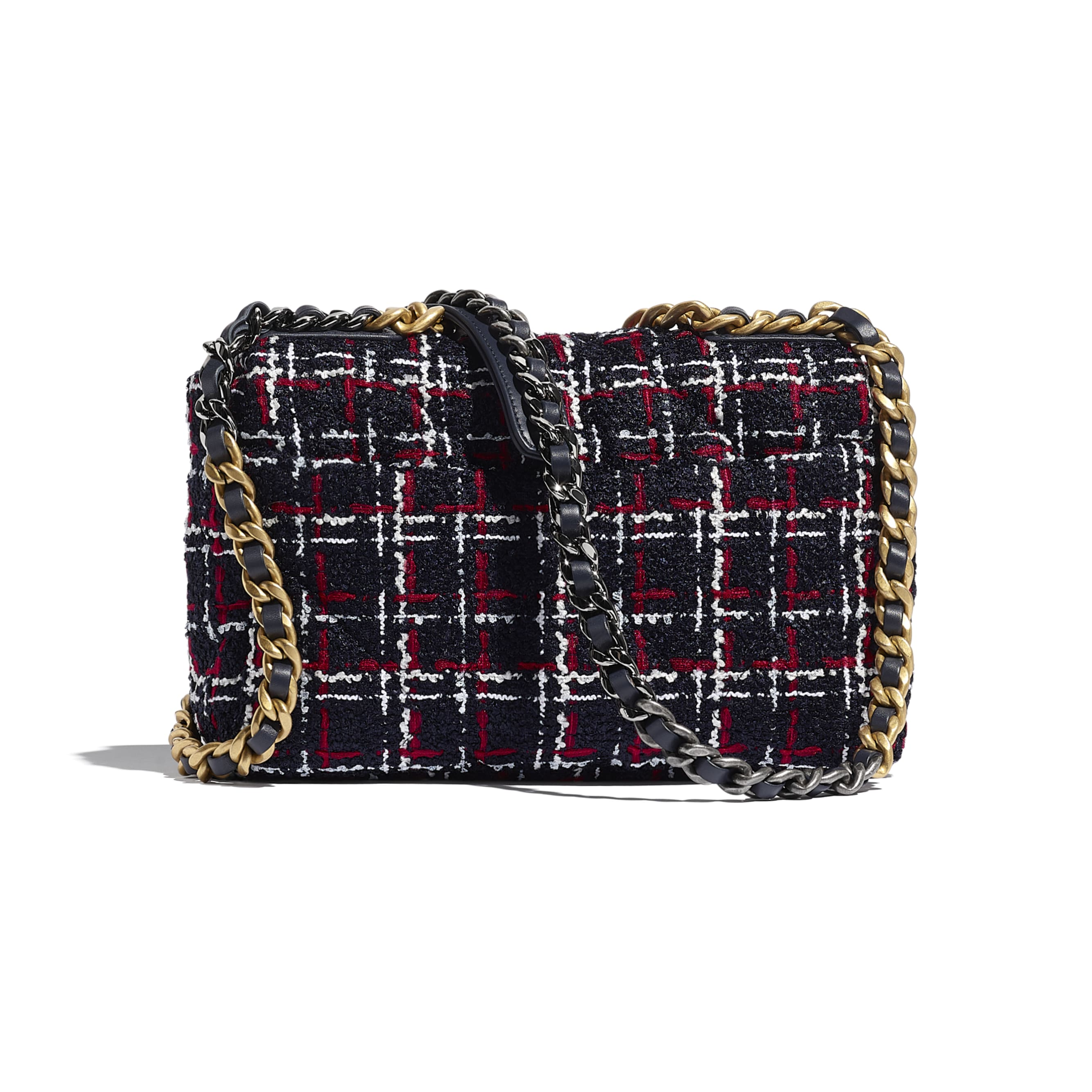 CHANEL 19 Flap Bag - Navy Blue, White & Red - Tweed, Gold-Tone, Silver-Tone & Ruthenium-Finish Metal - CHANEL - Alternative view - see standard sized version