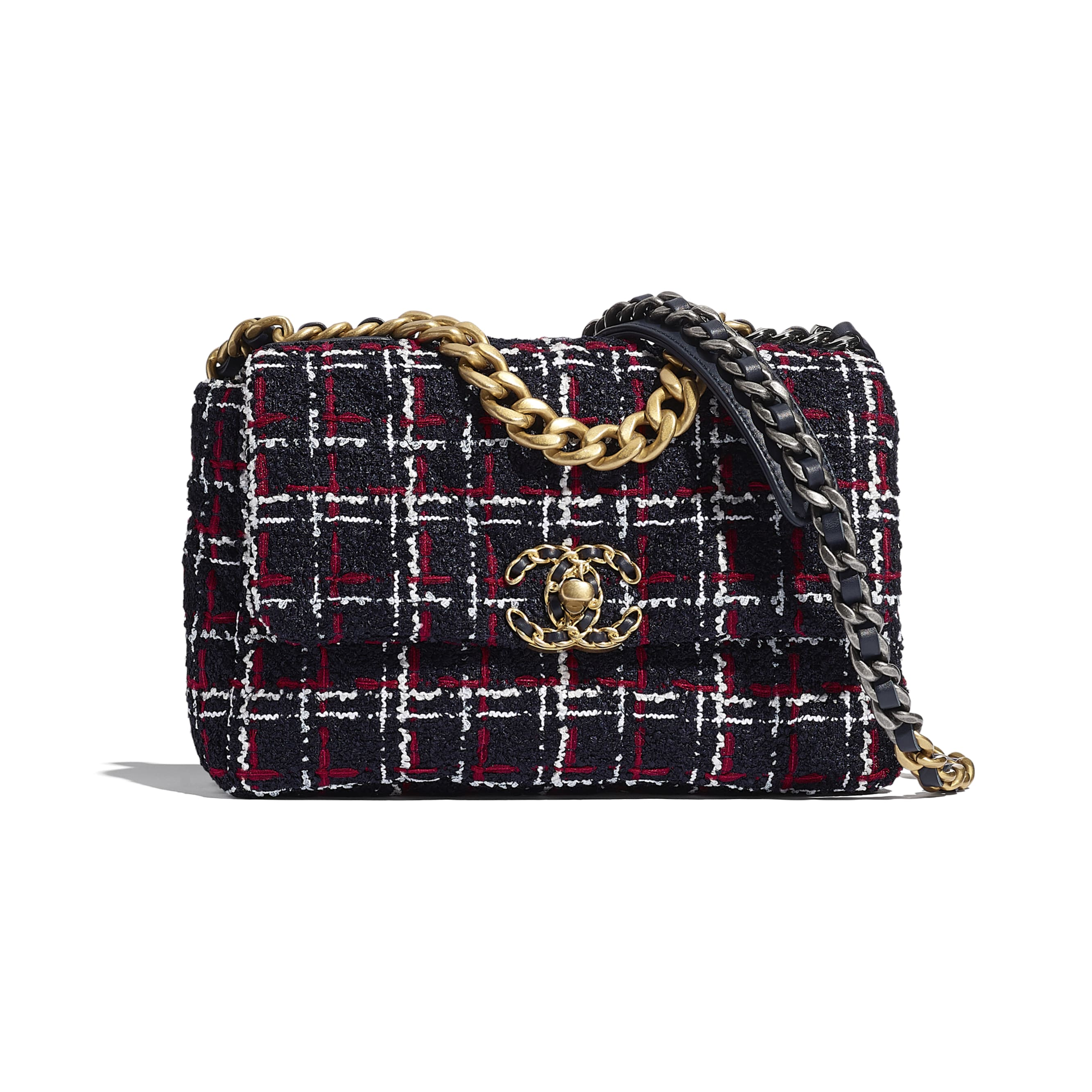 CHANEL 19 Flap Bag - Navy Blue, White & Red - Tweed, Gold-Tone, Silver-Tone & Ruthenium-Finish Metal - CHANEL - Default view - see standard sized version