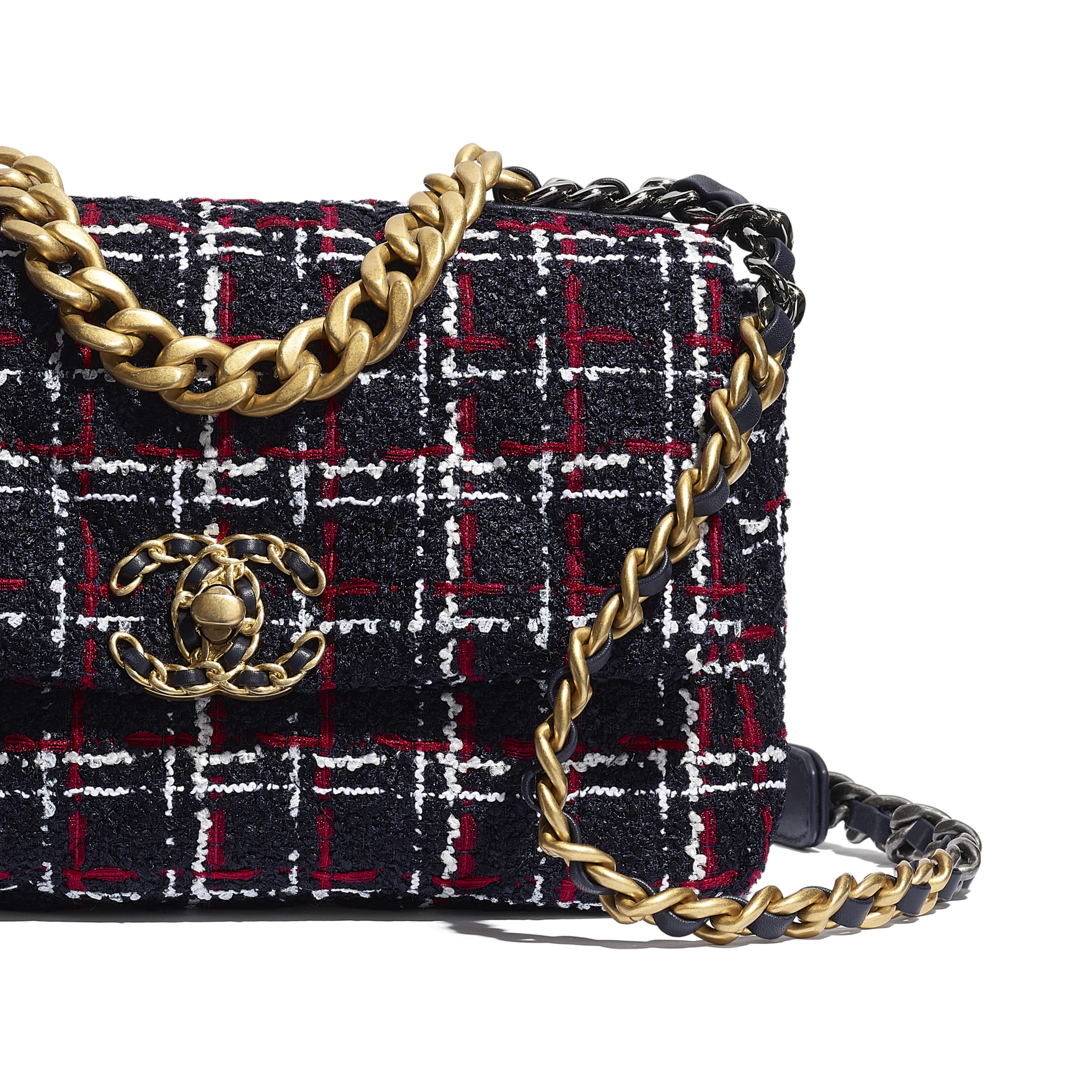 CHANEL 19 Flap Bag - Navy Blue, White & Red - Tweed, Gold-Tone, Silver-Tone & Ruthenium-Finish Metal - CHANEL - Extra view - see standard sized version